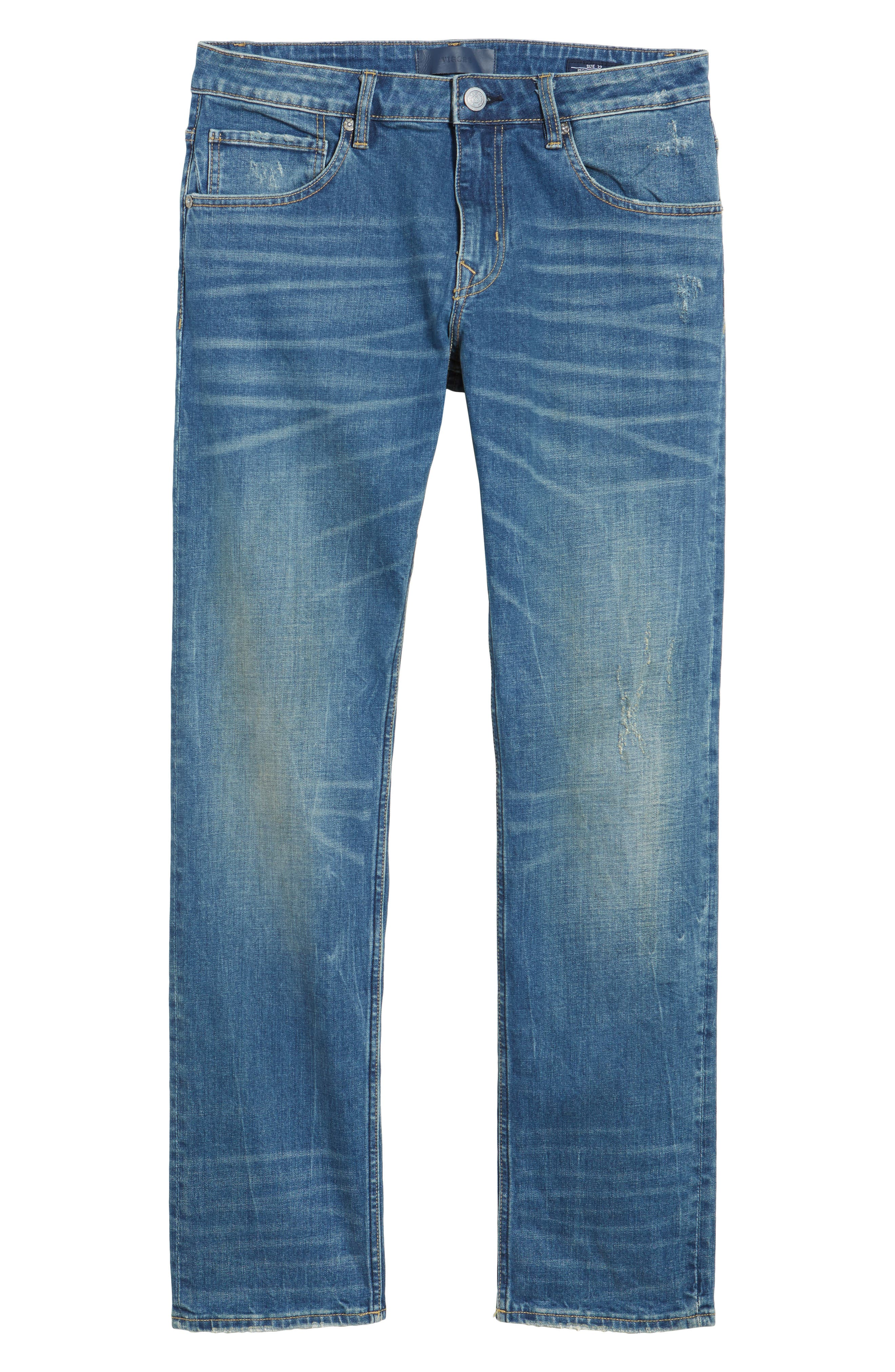 Slim Straight Leg Jeans,                             Alternate thumbnail 6, color,                             TINT LIGHT