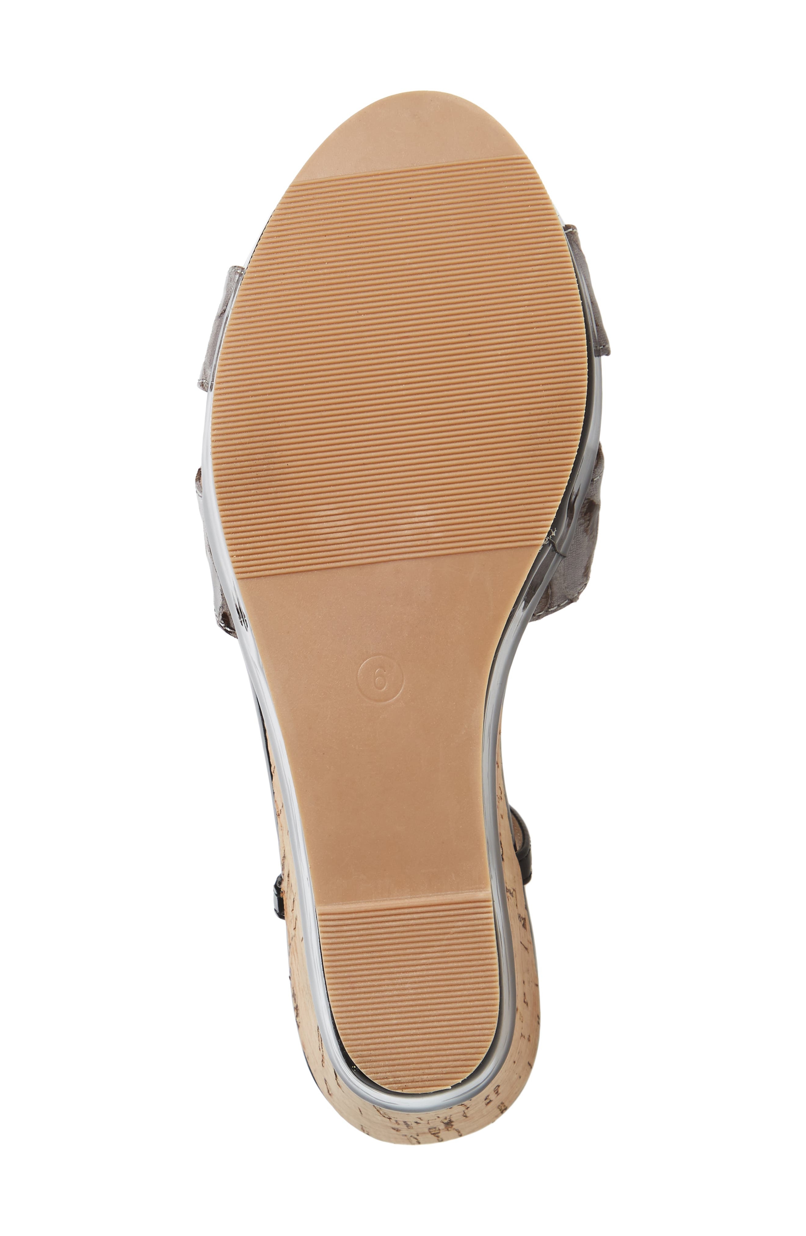 Lottie Platform Wedge Sandal,                             Alternate thumbnail 6, color,                             BLACK SYNTHETIC