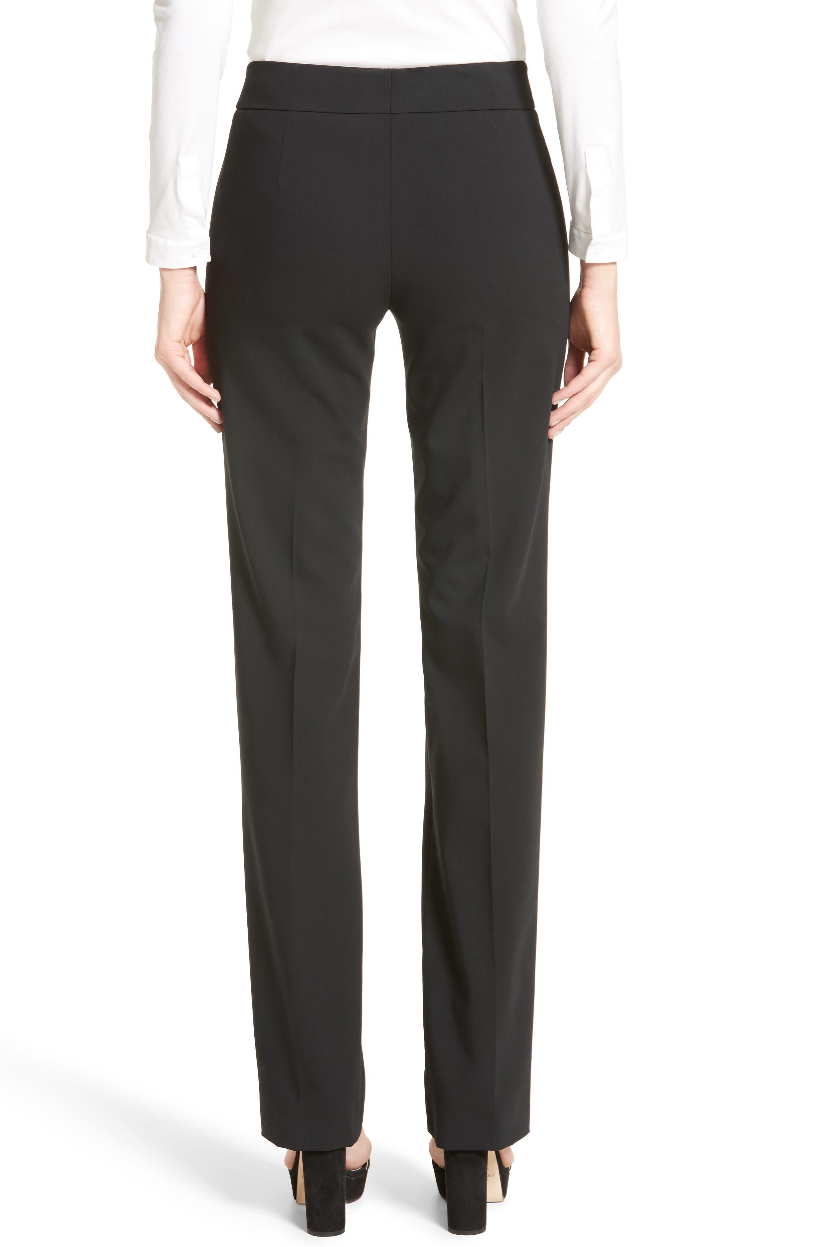 'Madison' Straight Leg Wool Trousers,                             Alternate thumbnail 2, color,                             001