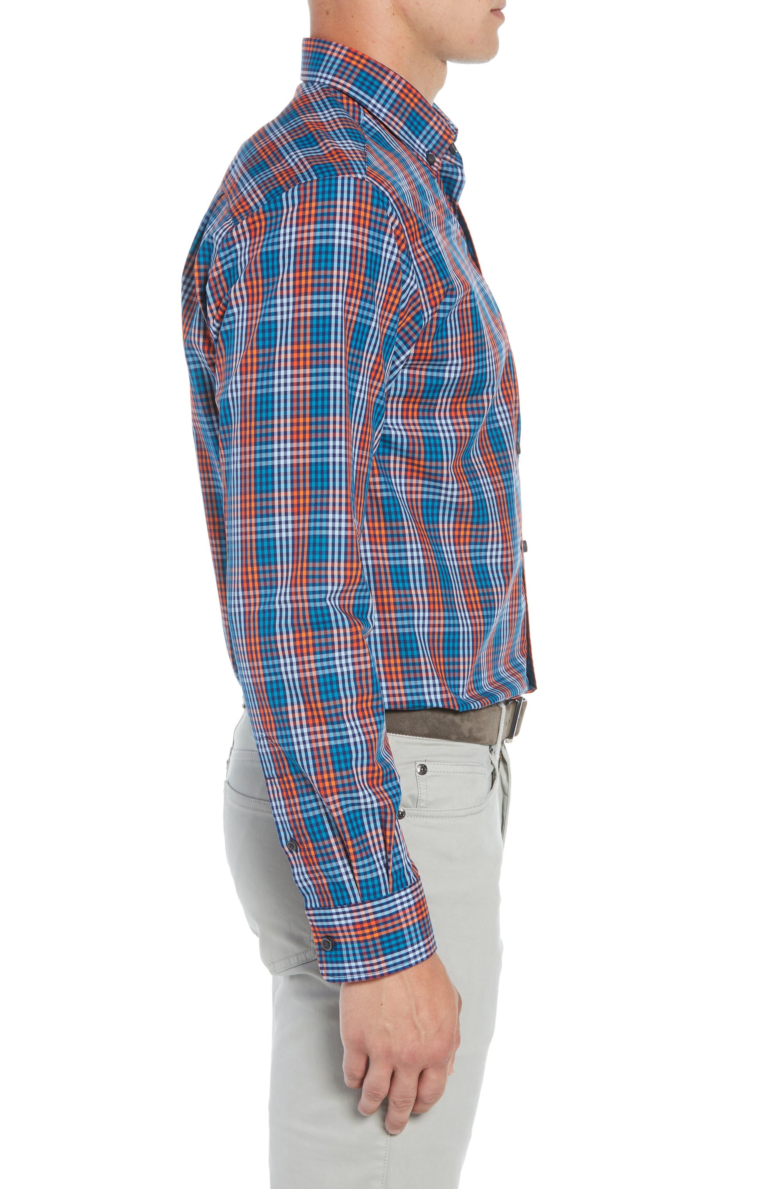 Sutton Regular Fit Non-Iron Check Sport Shirt,                             Alternate thumbnail 4, color,                             ALARM