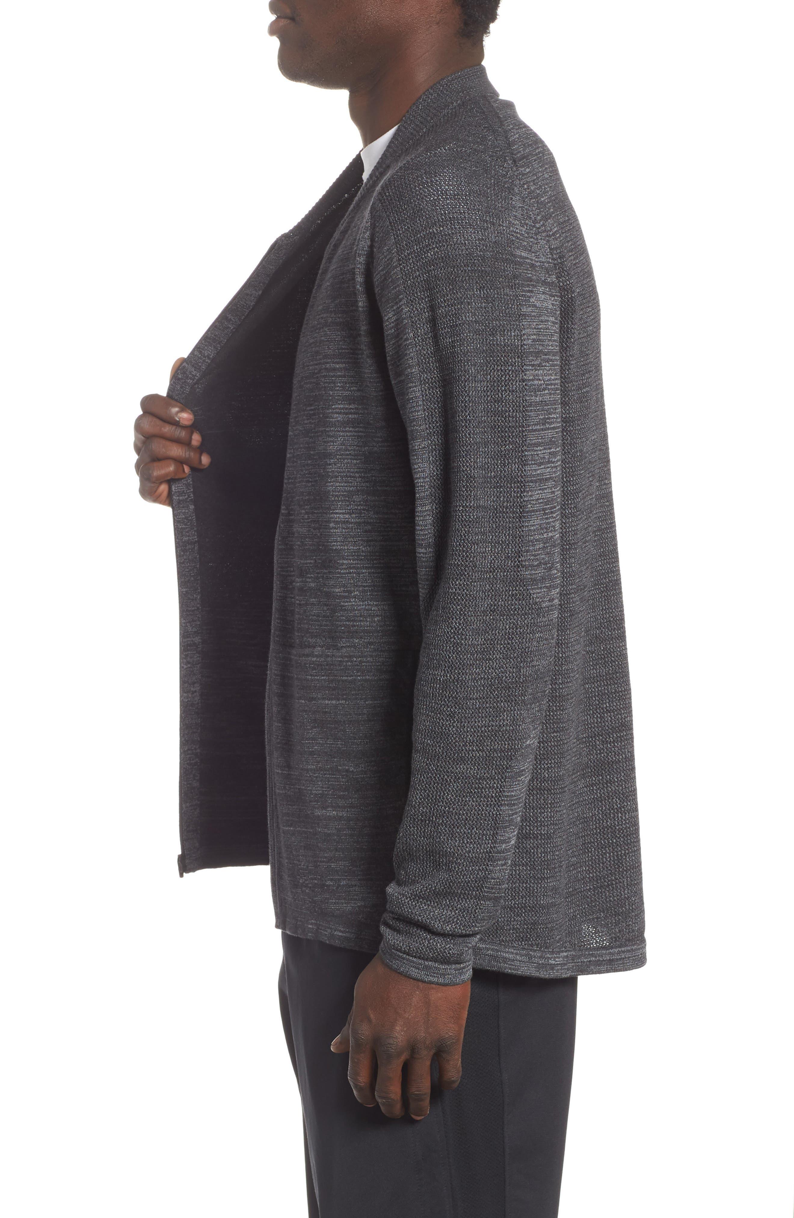 Tech Sweater Baseball Jacket,                             Alternate thumbnail 3, color,                             BLACK OXIDE SPACEDYE