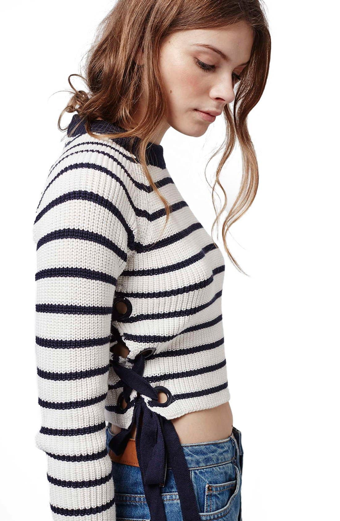 Lace-Up Crop Sweater,                             Alternate thumbnail 3, color,                             410