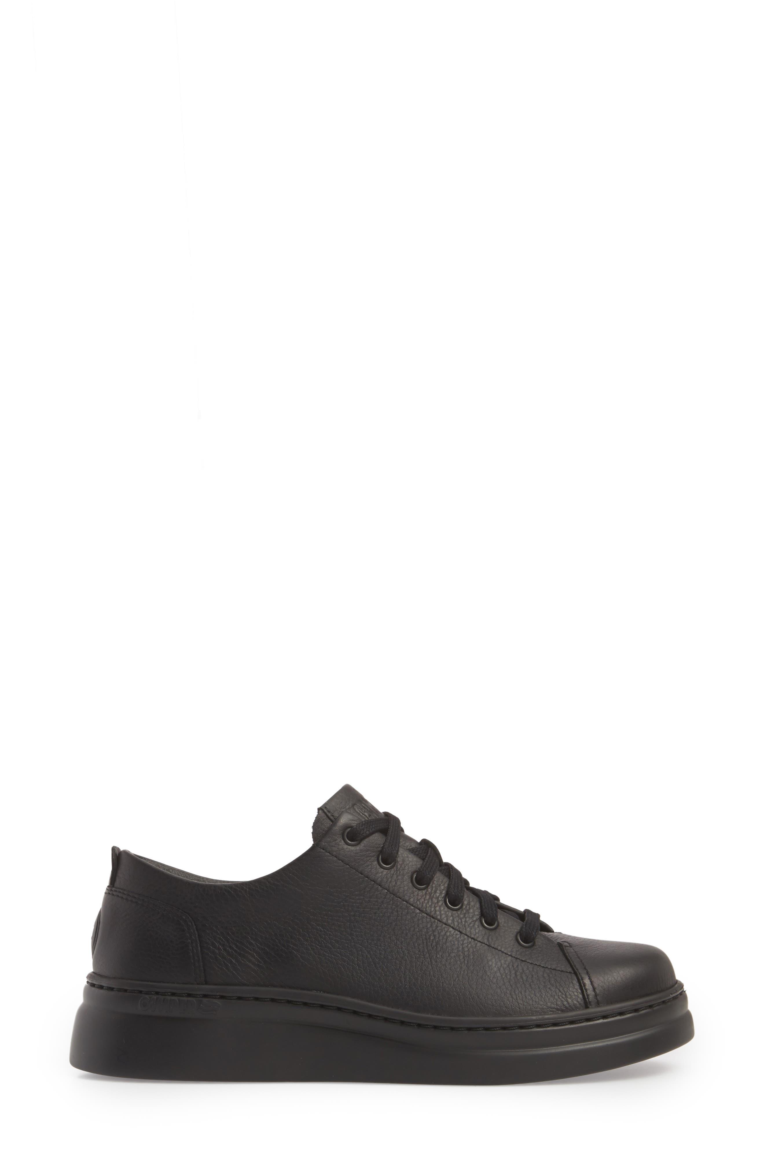 Runner Up Sneaker,                             Alternate thumbnail 3, color,                             BLACK LEATHER
