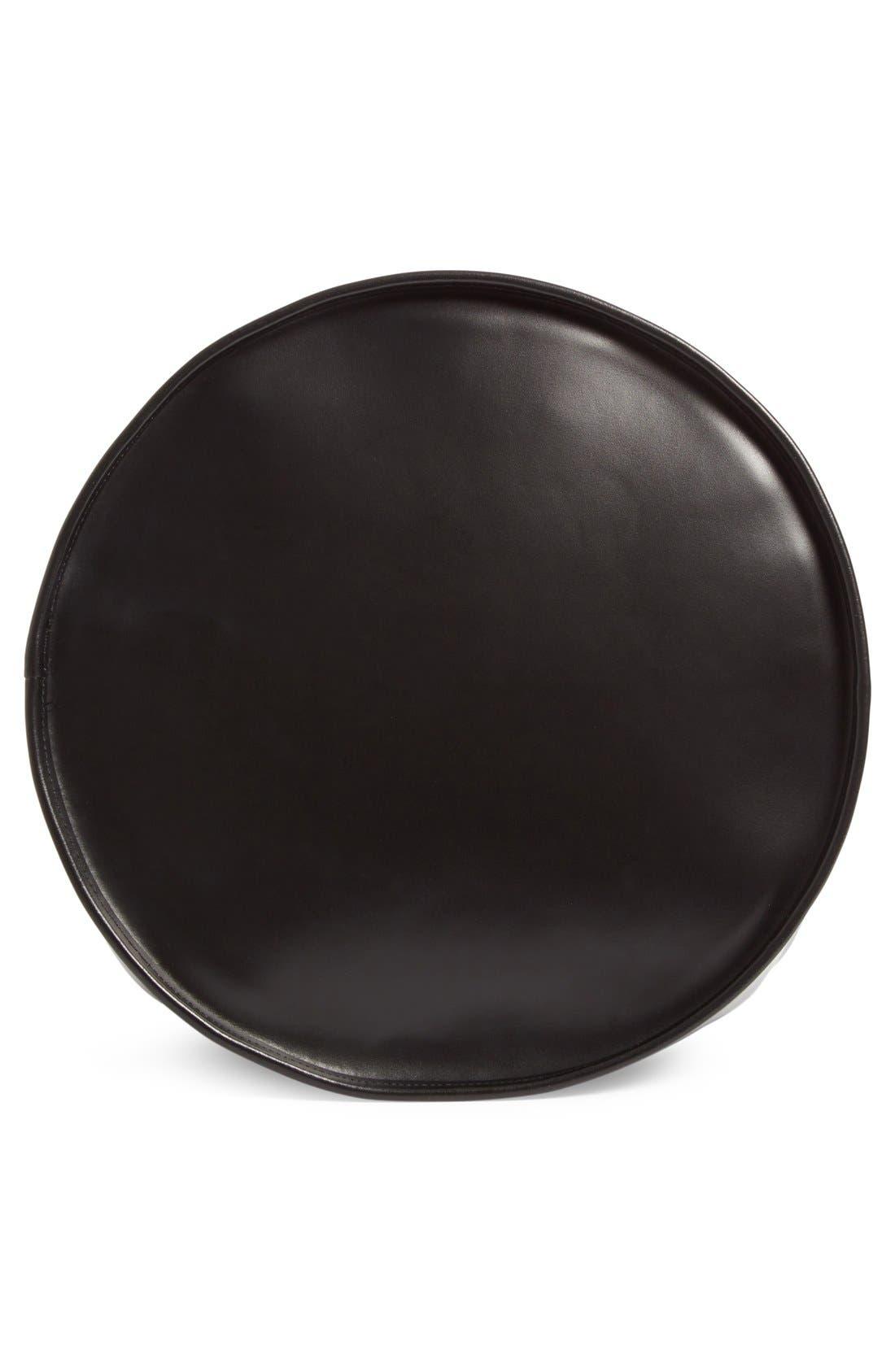 Large Calfskin Leather Bucket Bag,                             Alternate thumbnail 5, color,                             001