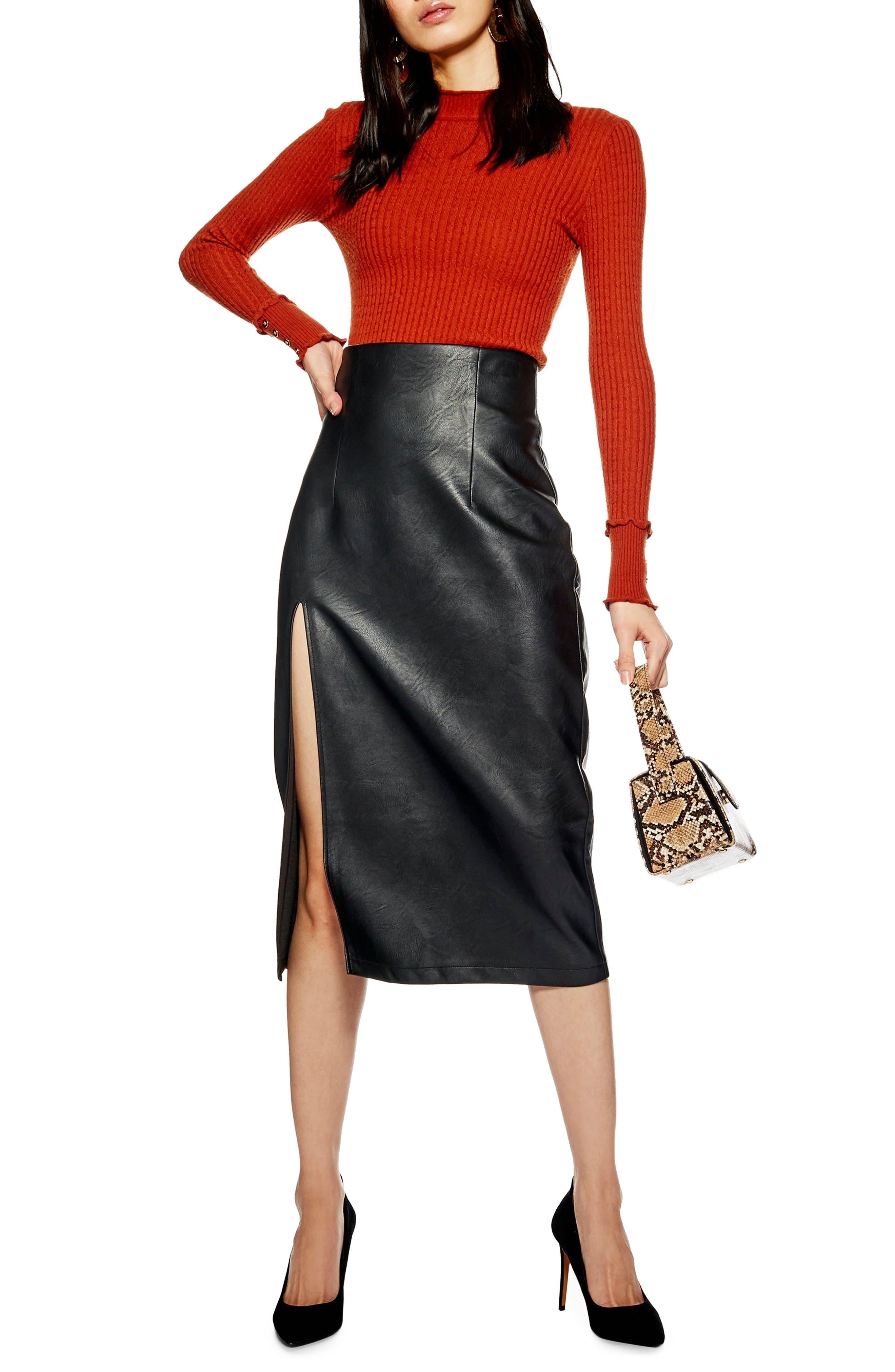 Faux Leather Pencil Skirt, Main, color, BLACK