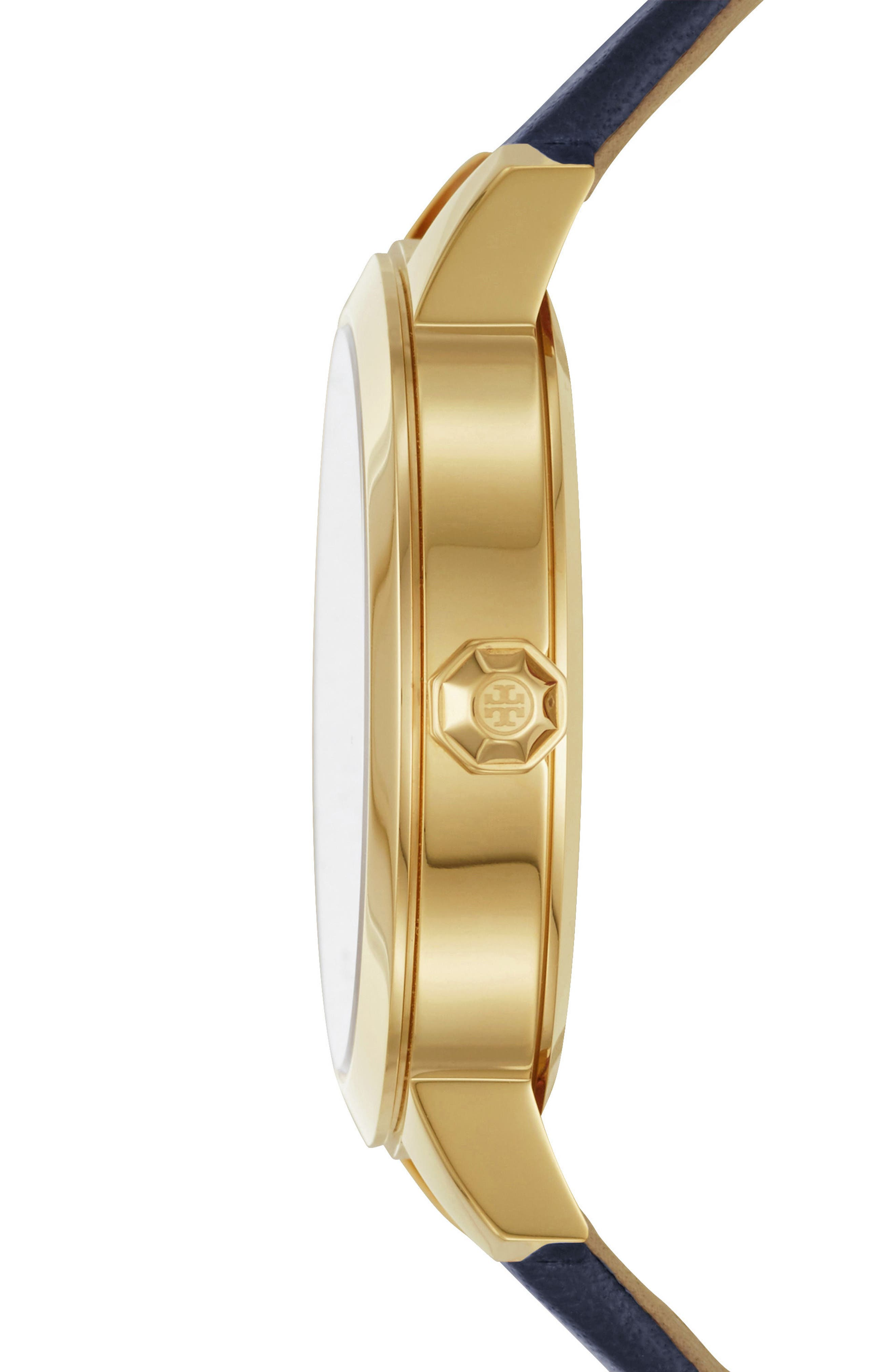 Collins Leather Strap Watch, 38mm,                             Alternate thumbnail 2, color,                             NAVY/ GOLD