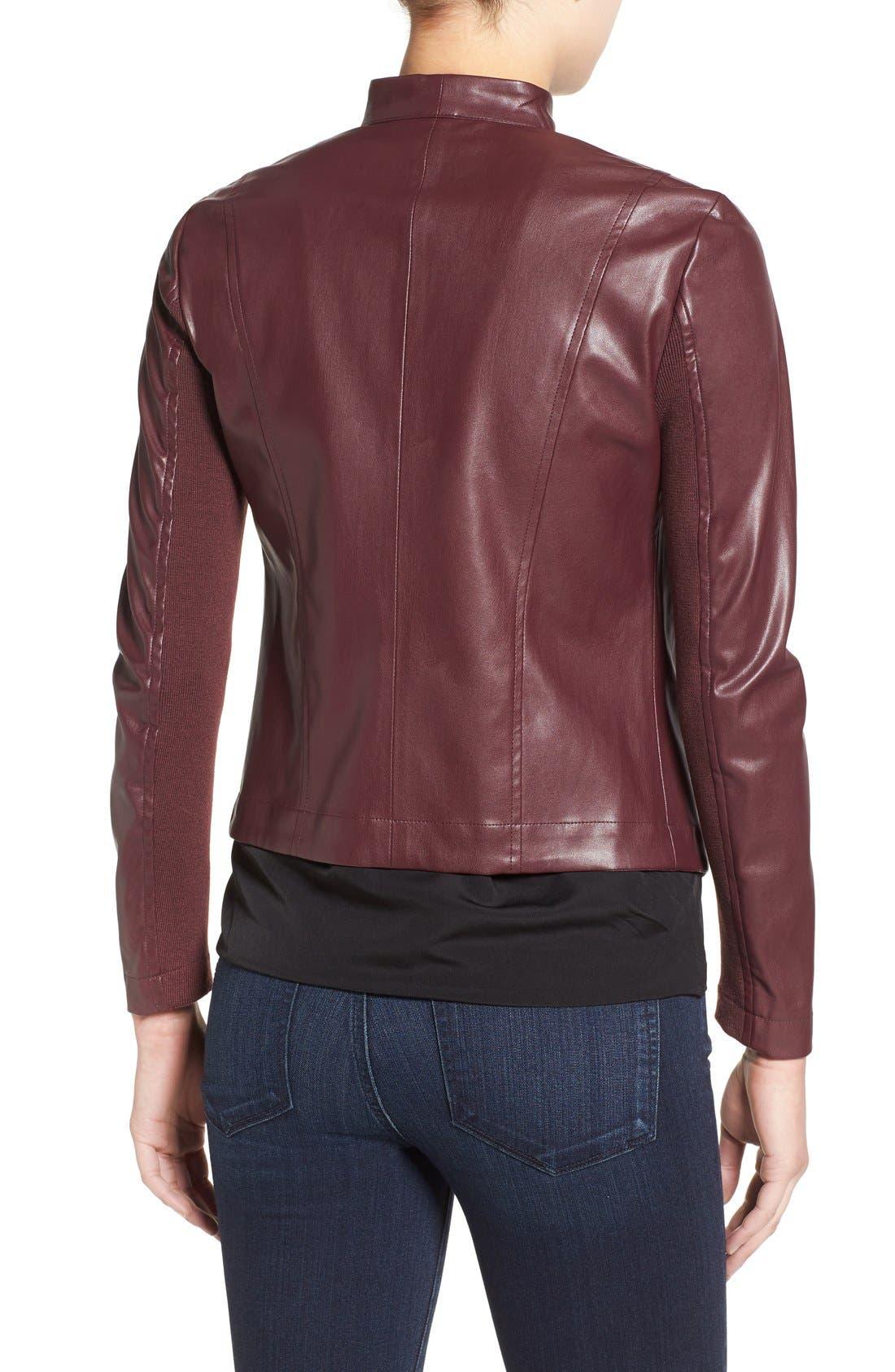 'Peppin' Drape Front Faux Leather Jacket,                             Alternate thumbnail 17, color,