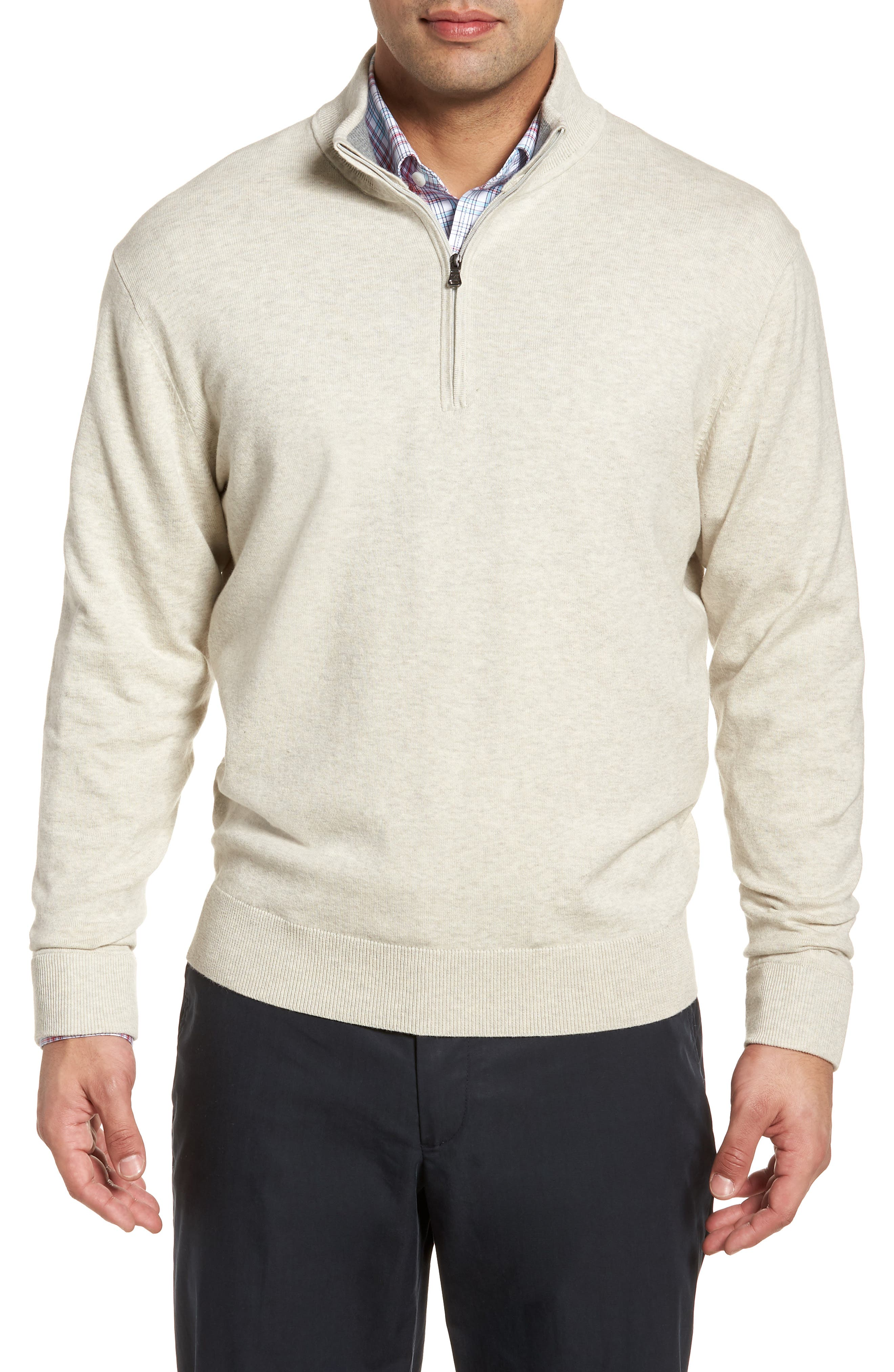 CUTTER & BUCK,                             Lakemont Classic Fit Quarter Zip Sweater,                             Main thumbnail 1, color,                             OATMEAL HEATHER