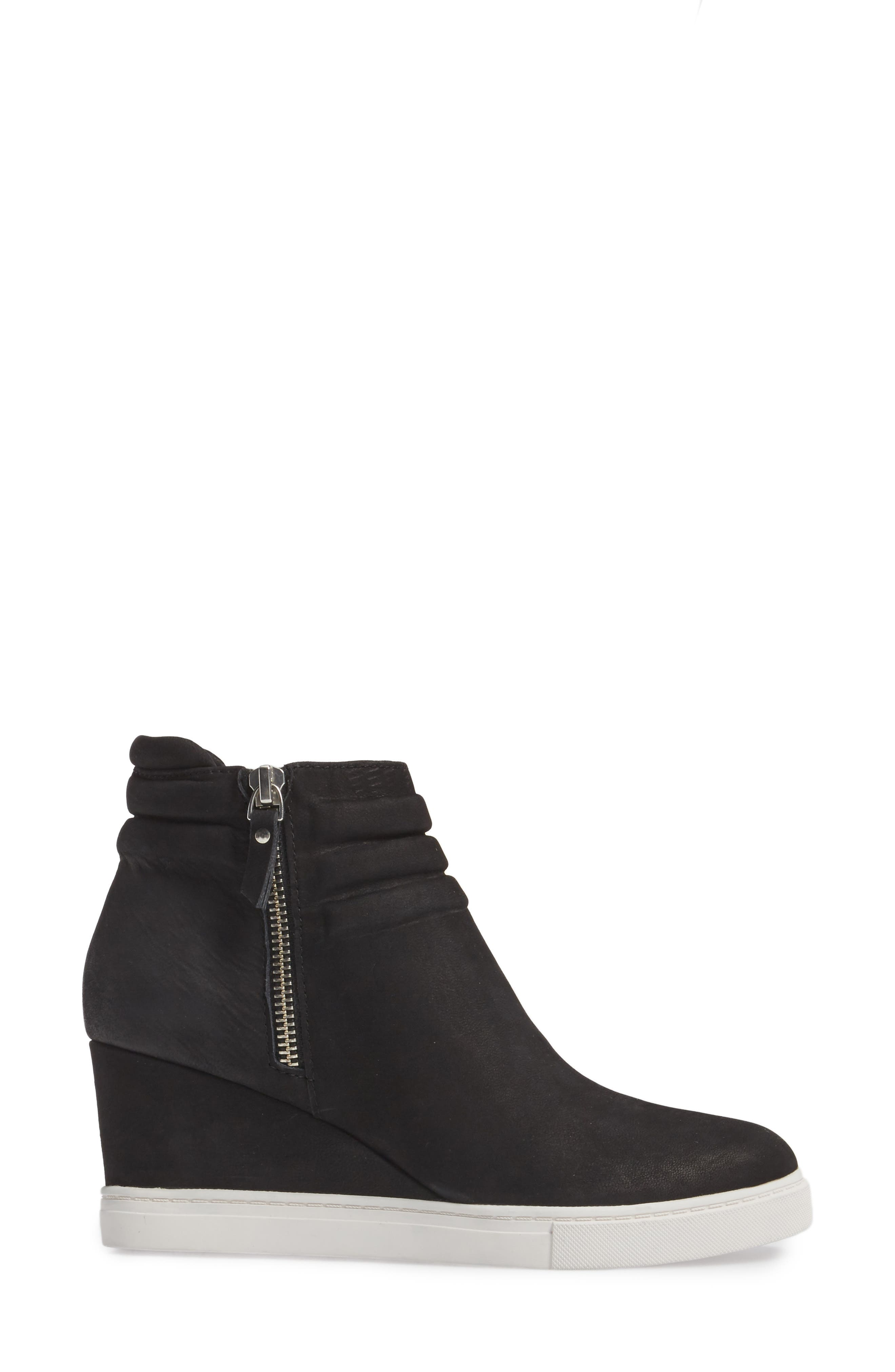 Frieda Wedge Bootie,                             Alternate thumbnail 3, color,                             BLACK LEATHER