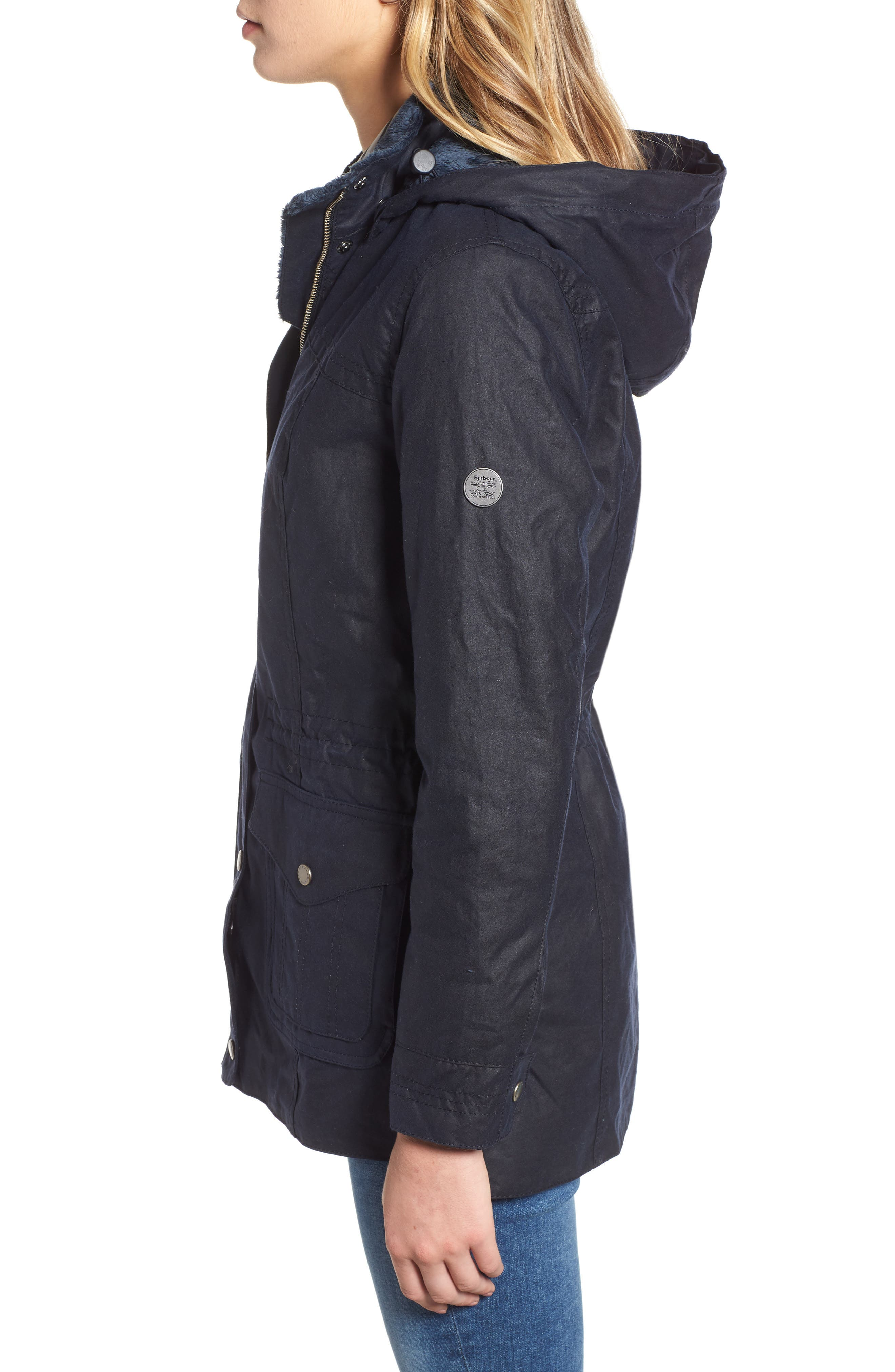 Southwold Jacket with Faux Fur Lining & Trim,                             Alternate thumbnail 3, color,                             ROYAL NAVY