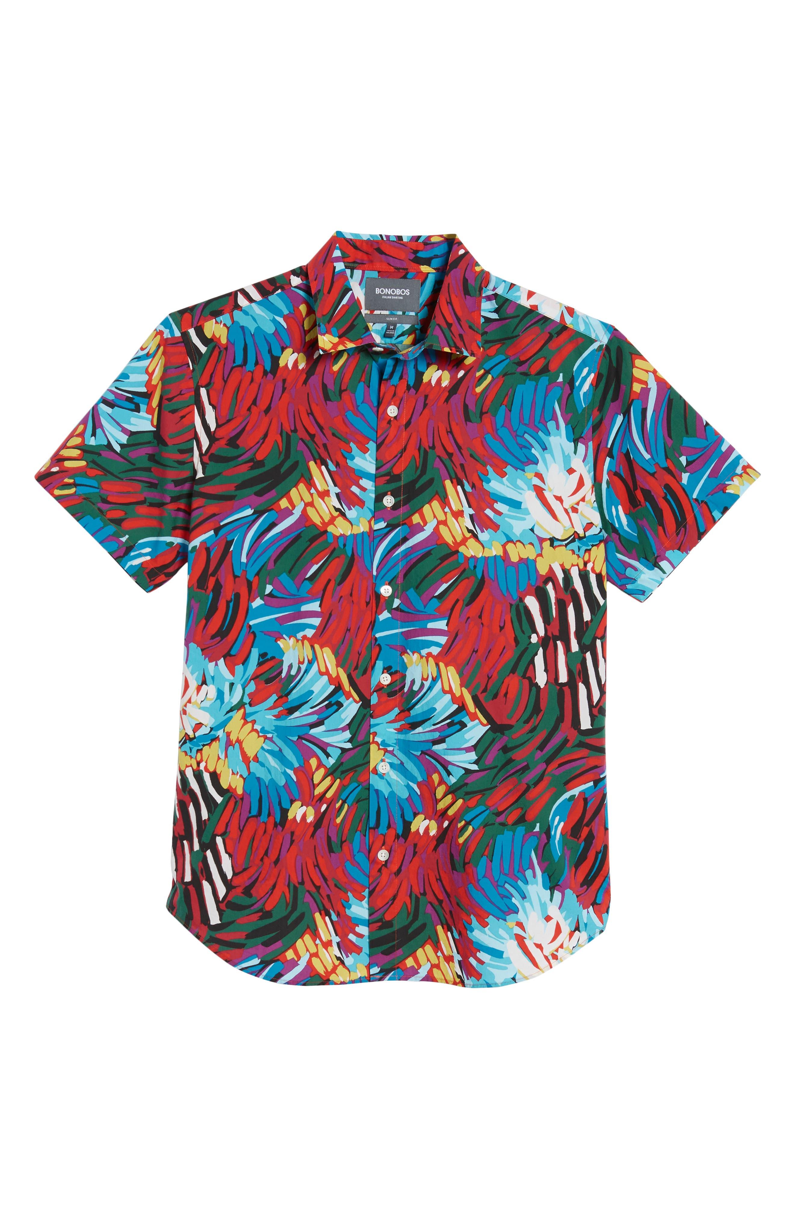 Premium Slim Fit Print Sport Shirt,                             Alternate thumbnail 6, color,