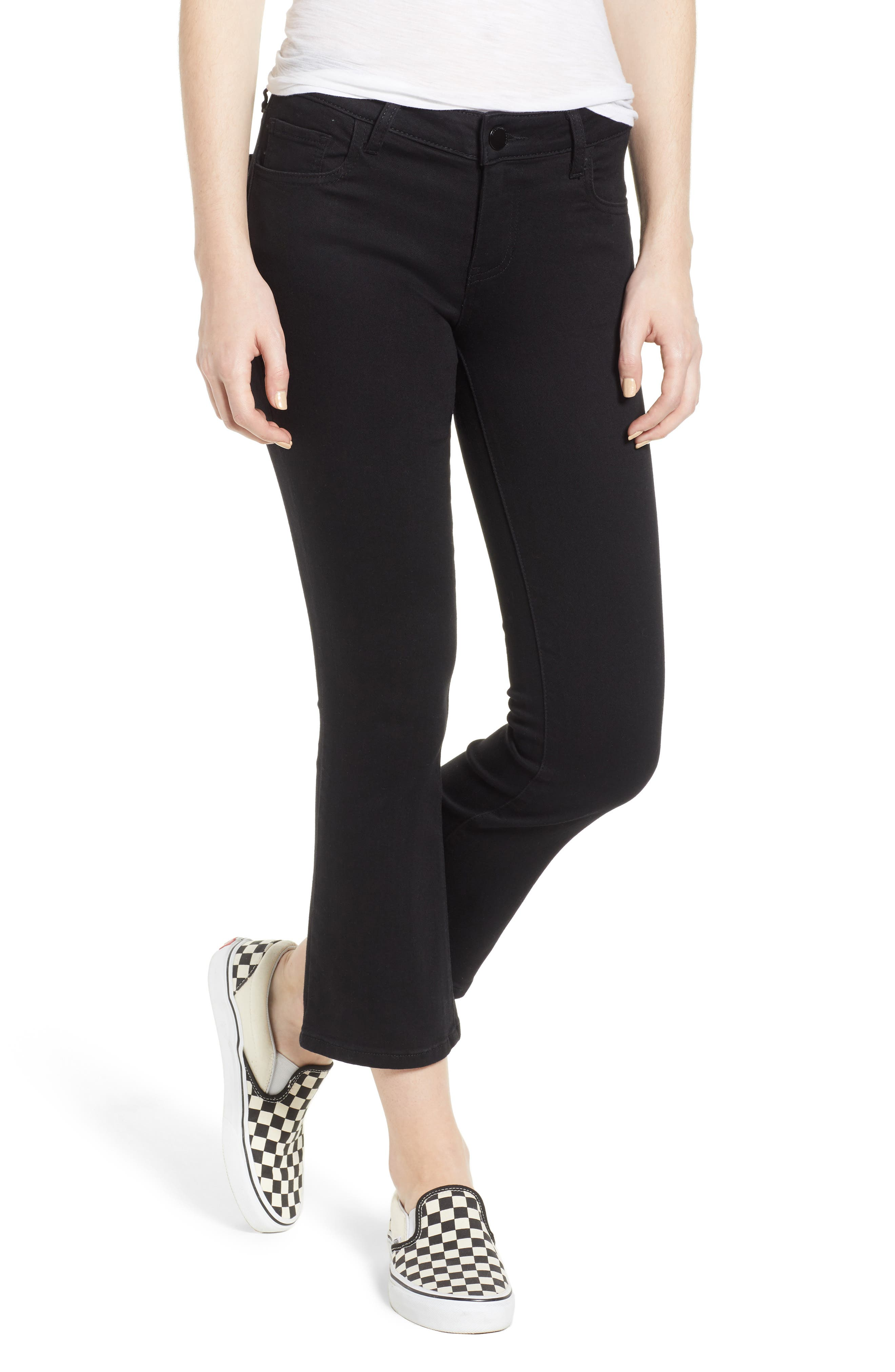 Crop Flare Jeans,                         Main,                         color, BLACK