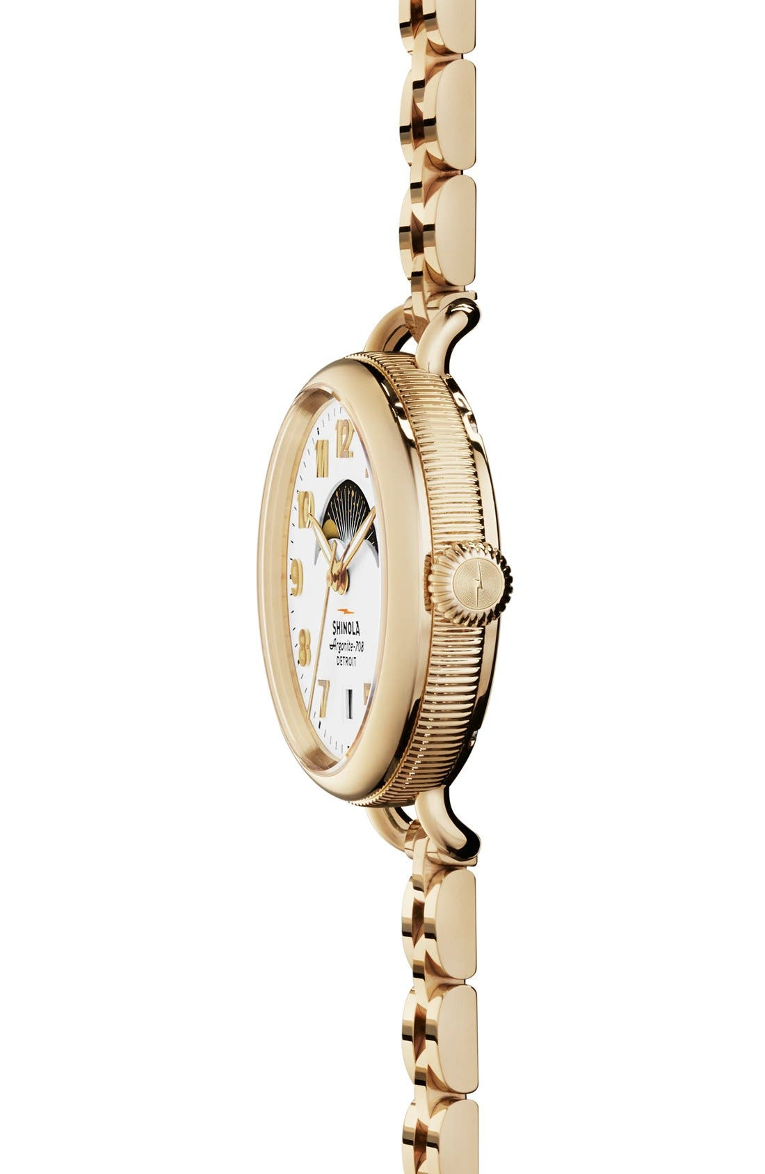 'The Birdy' Moon Phase Bracelet Watch, 34mm,                             Alternate thumbnail 3, color,                             GOLD/ WHITE