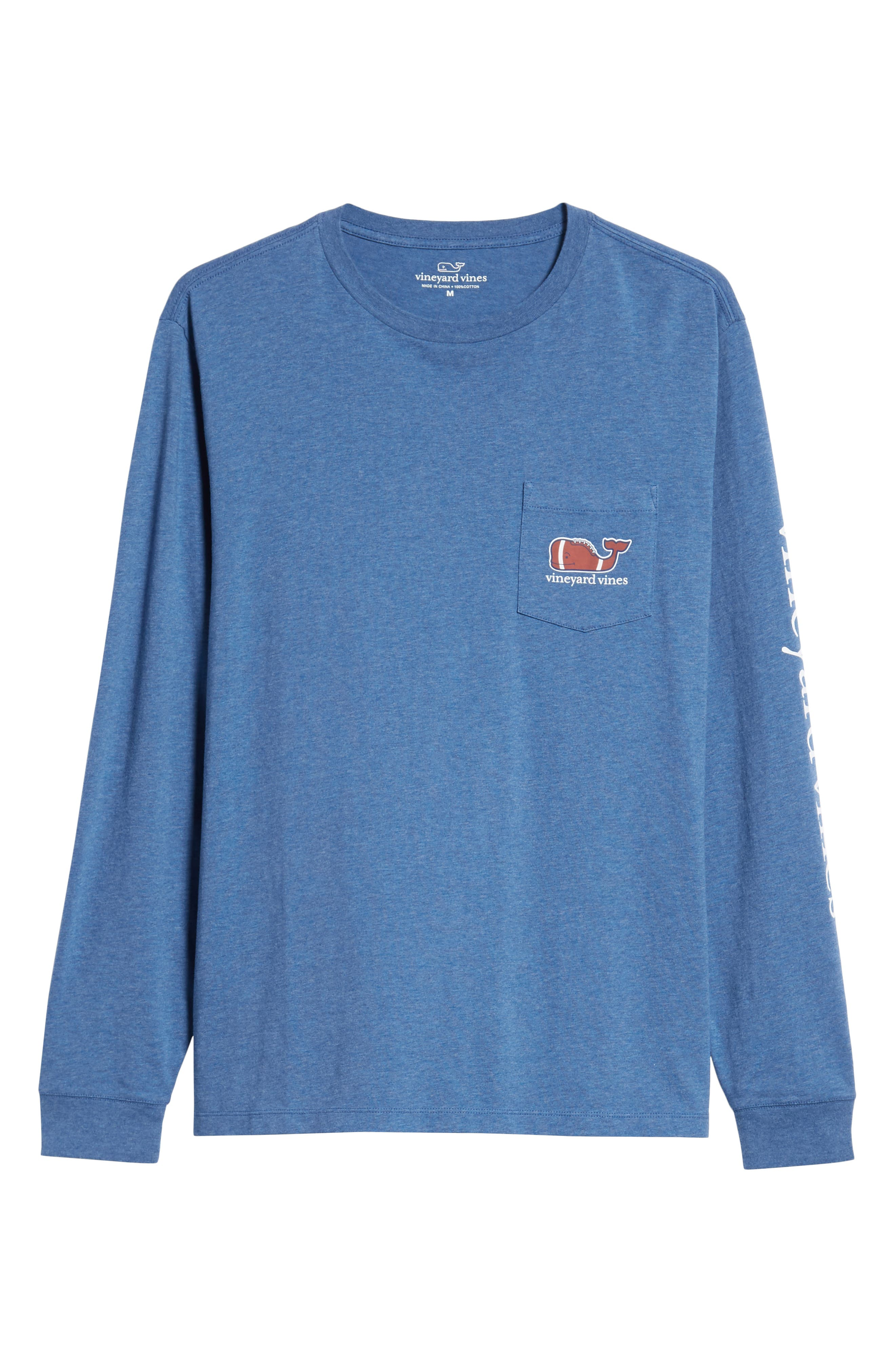 Football Whale Long Sleeve Pocket T-Shirt,                             Alternate thumbnail 6, color,                             MOONSHINE