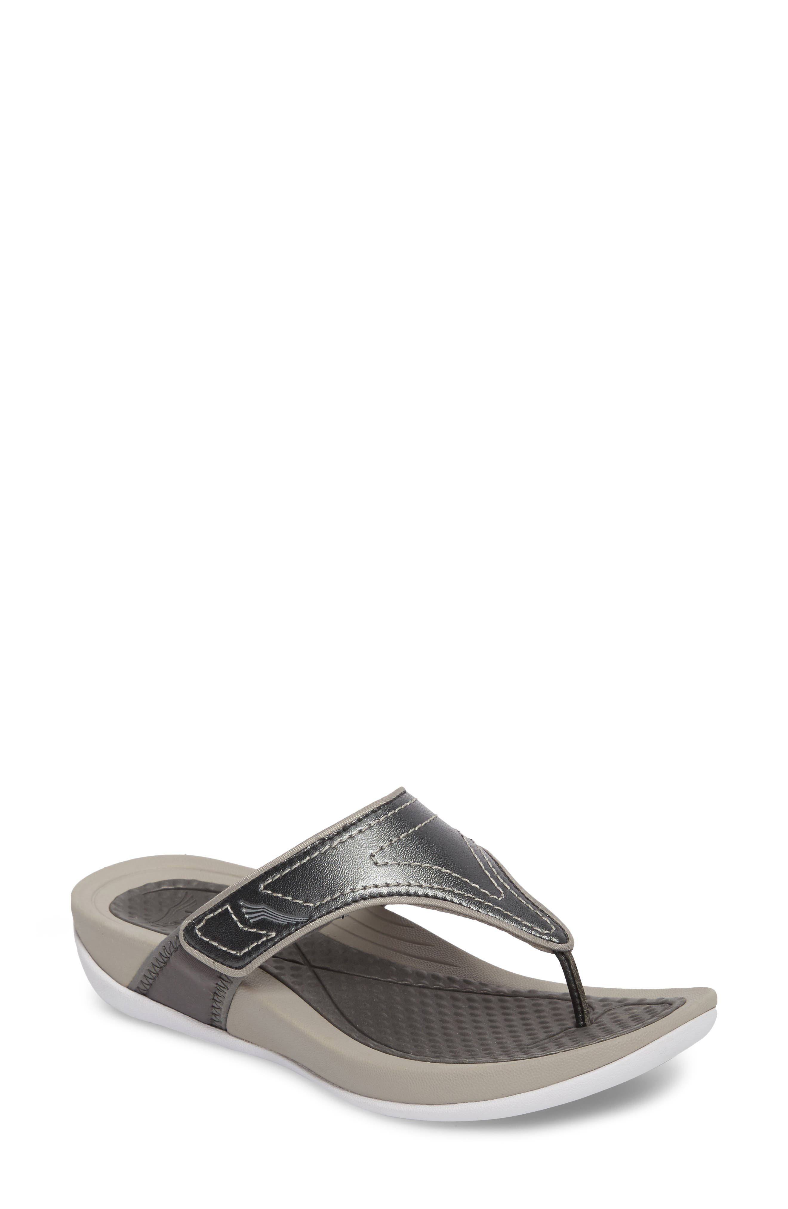 Katy 2 Thong Sandal,                         Main,                         color, PEWTER METALLIC SMOOTH LEATHER
