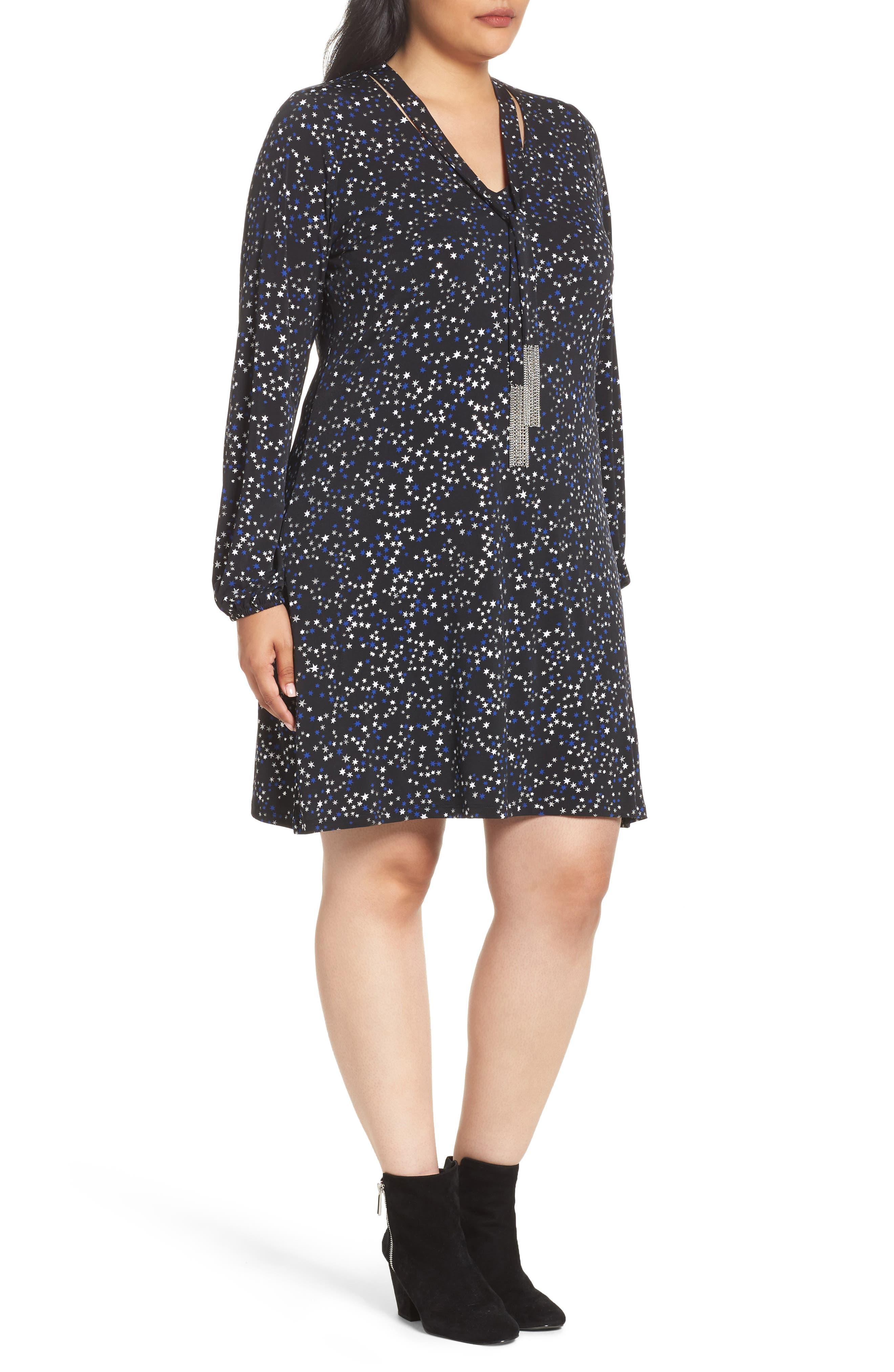Foil Star A-Line Dress,                             Alternate thumbnail 3, color,