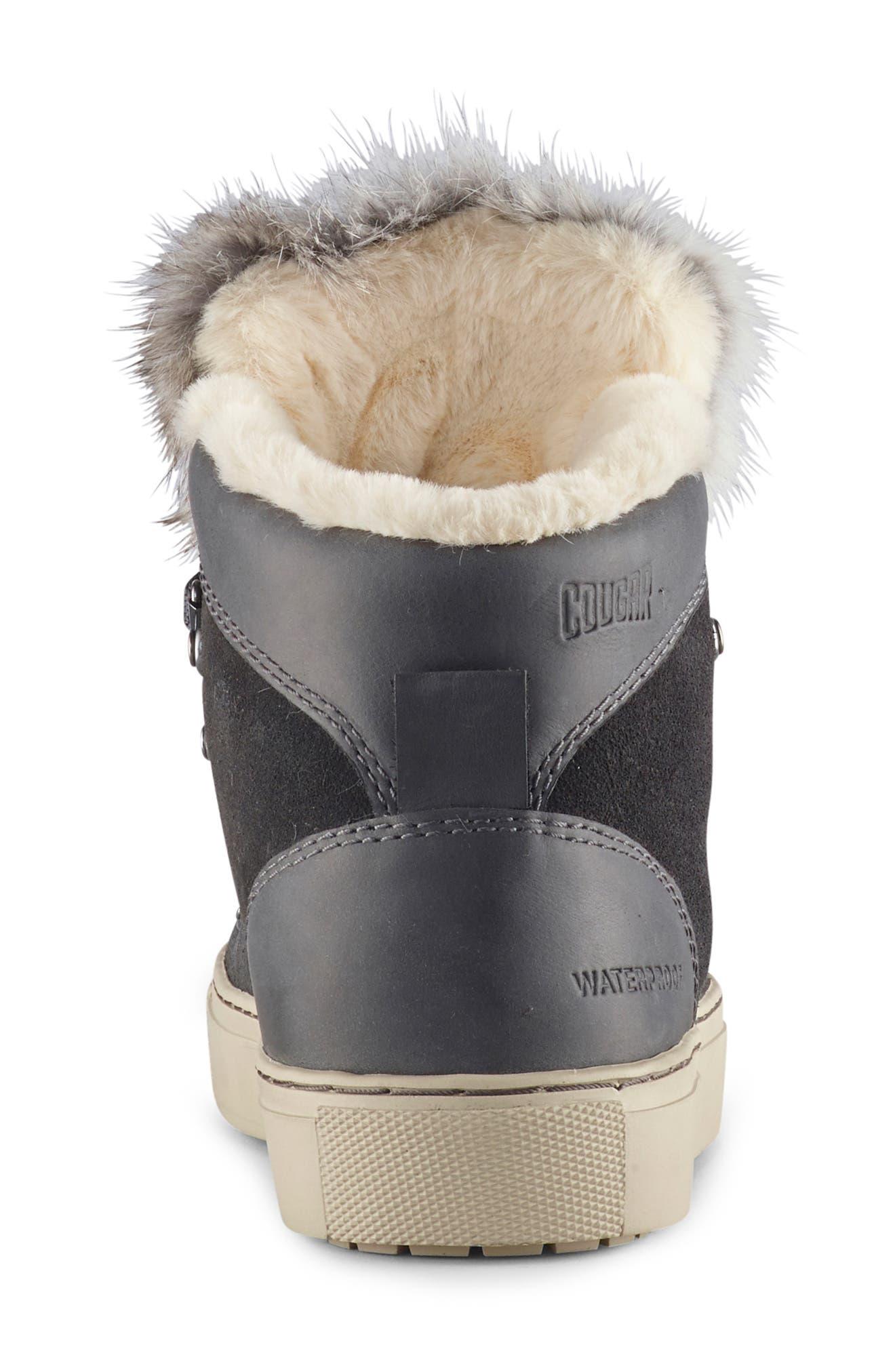 COUGAR,                             Dani High Top Sneaker with Genuine Rabbit Fur Trim,                             Alternate thumbnail 5, color,                             PEWTER SUEDE