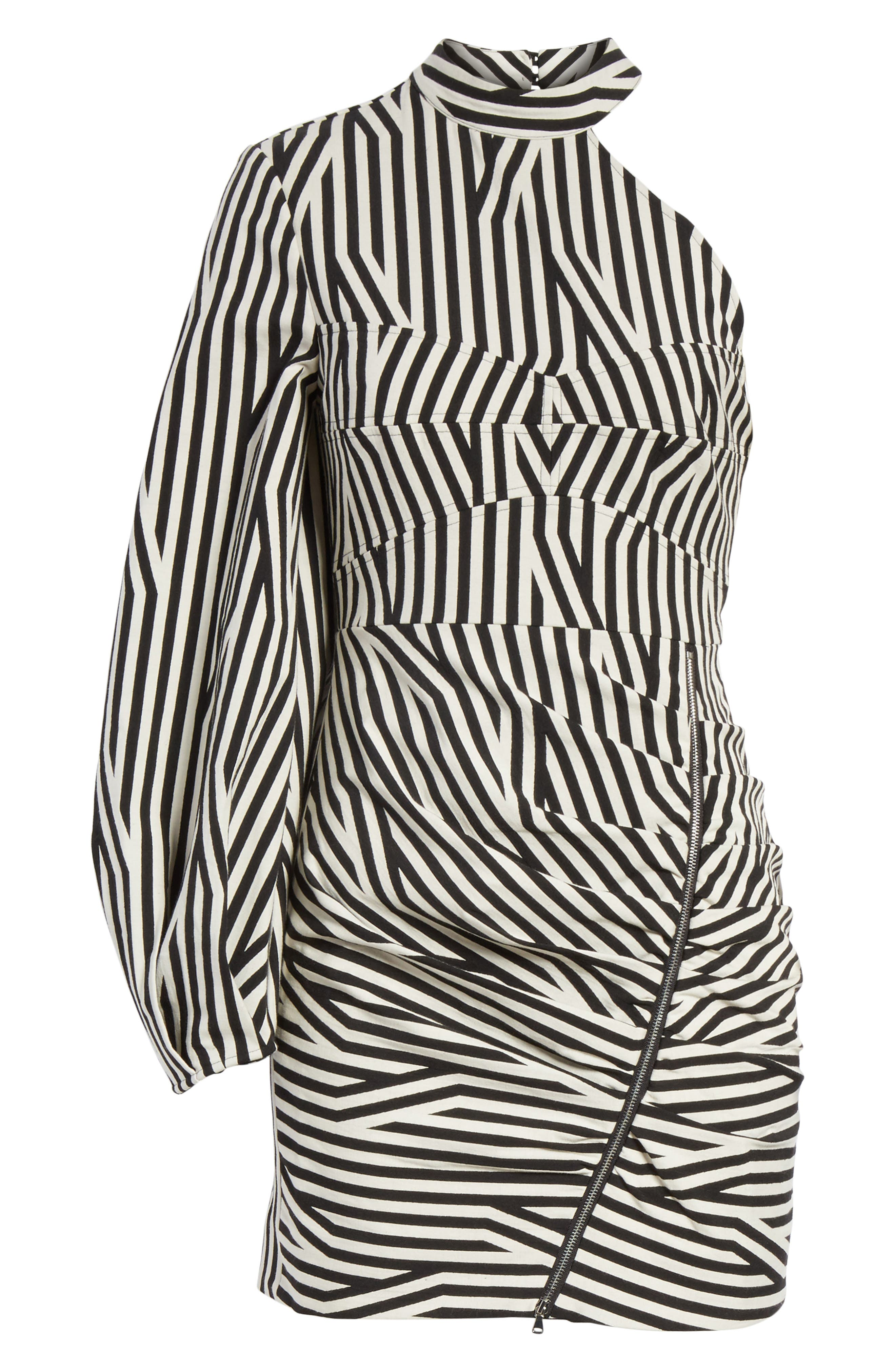Abstract Stripe One-Shoulder Minidress,                             Alternate thumbnail 6, color,