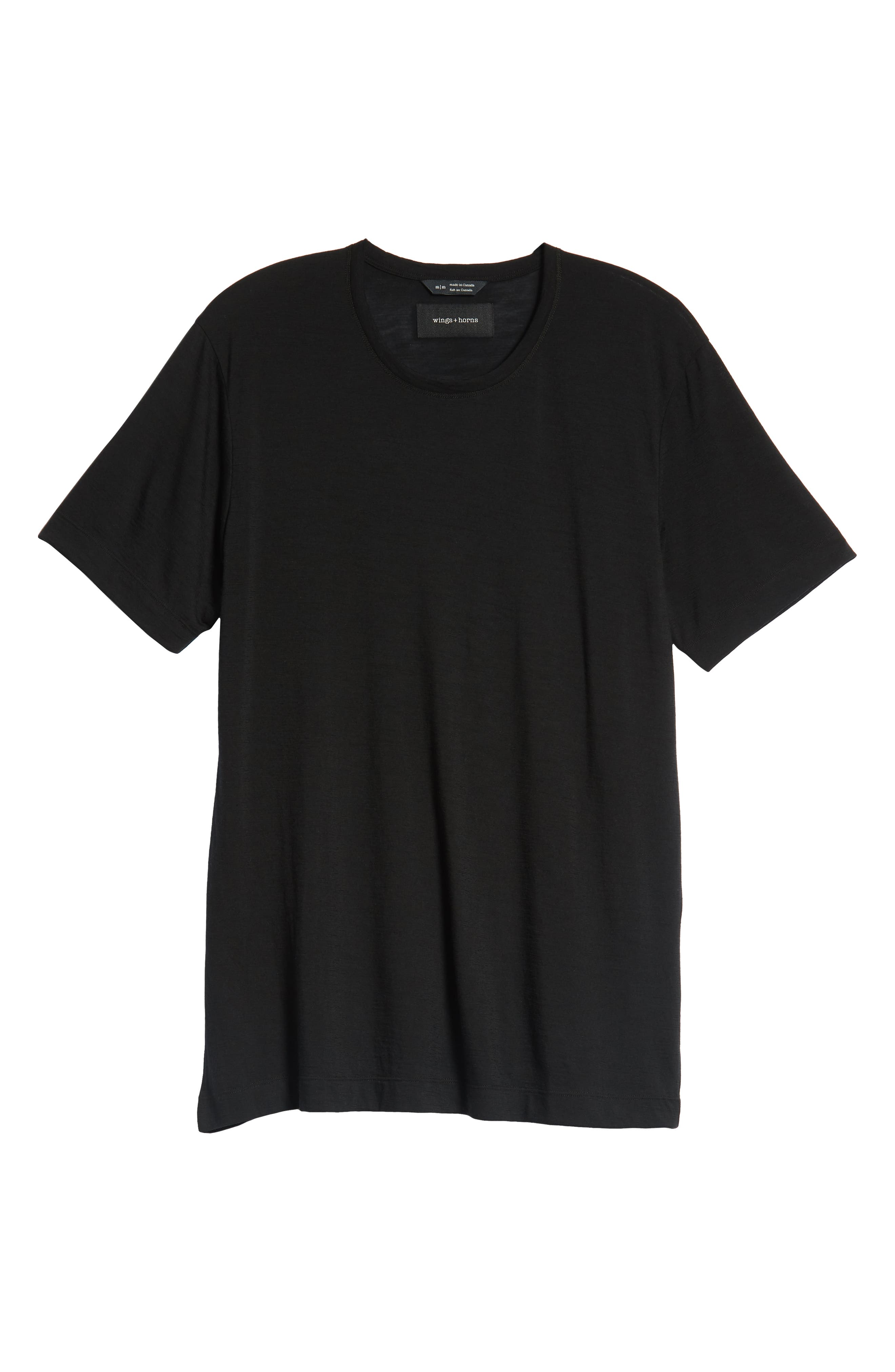Swedish Merino Wool T-Shirt,                             Alternate thumbnail 6, color,                             BLACK