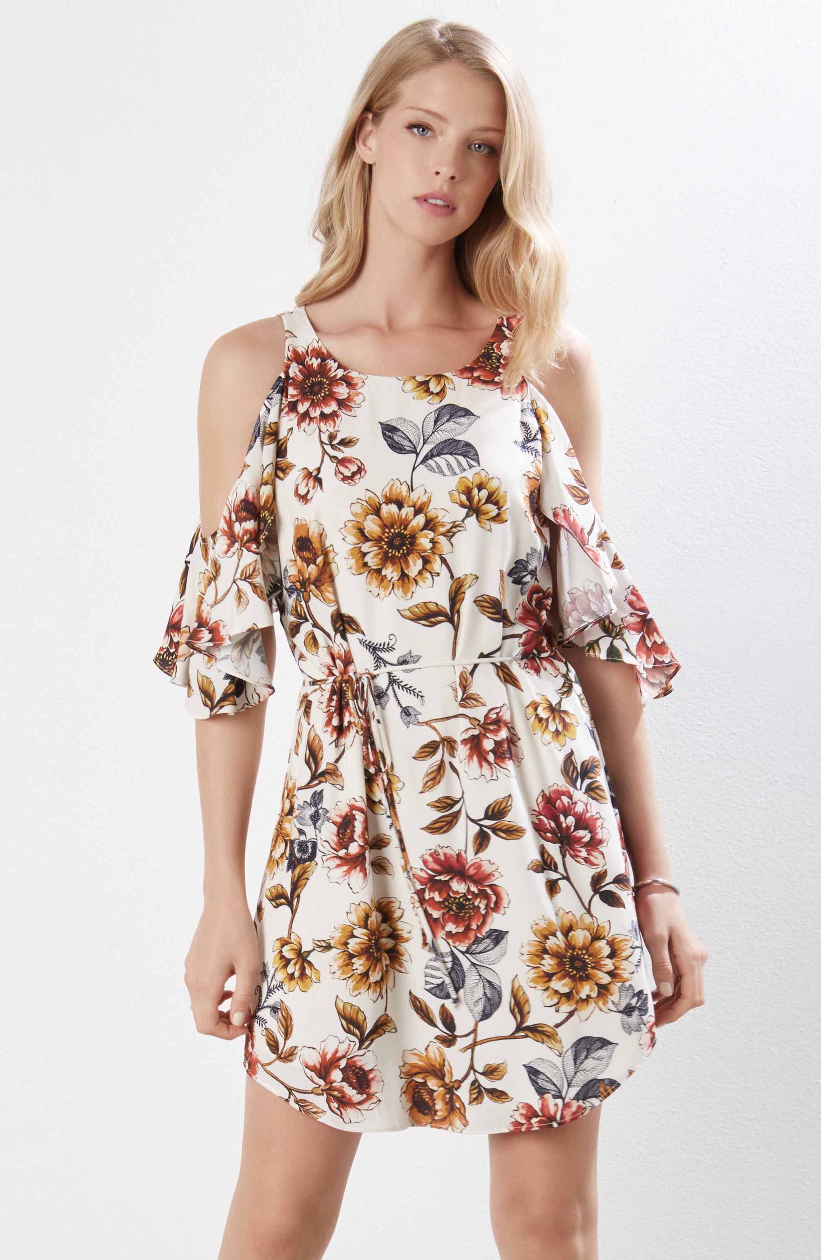 Kane Kane Cold Shoulder Floral Dress,                             Alternate thumbnail 4, color,                             PRINT