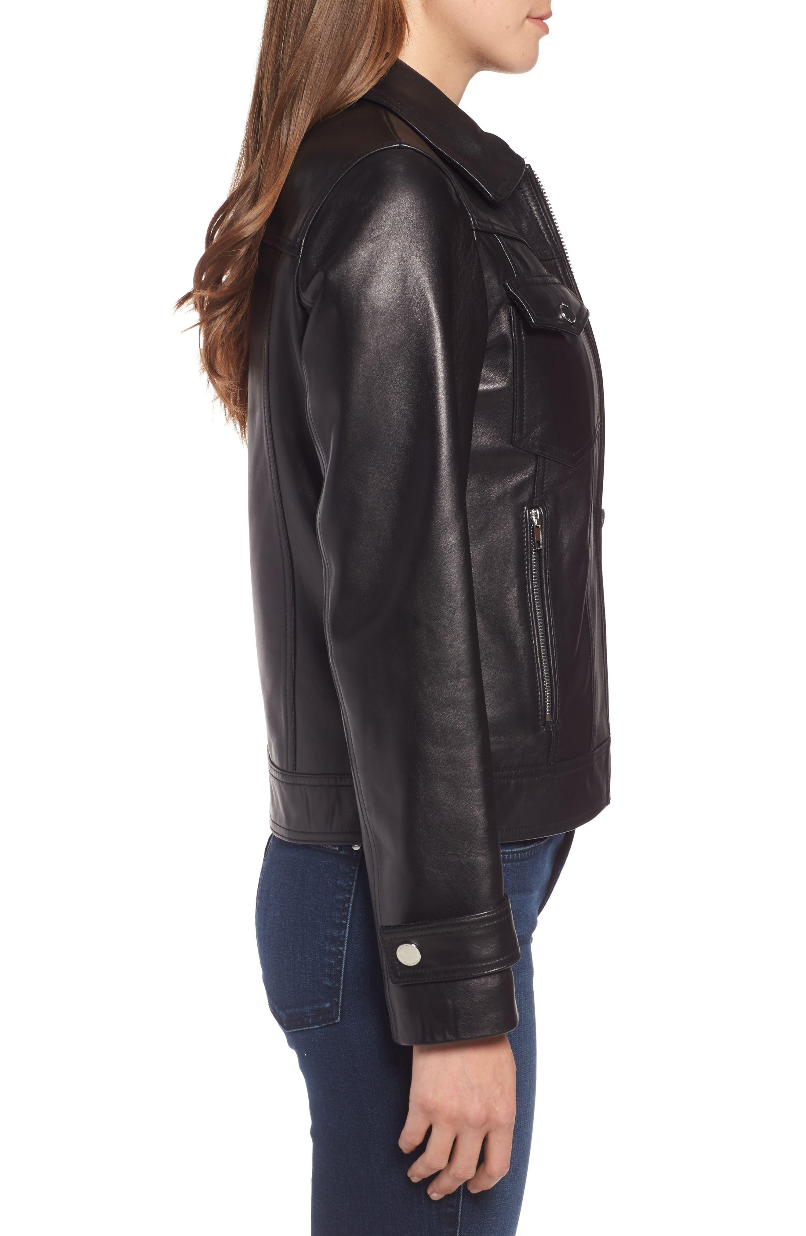 Esther Leather Trucker Jacket,                             Alternate thumbnail 3, color,                             BLACK