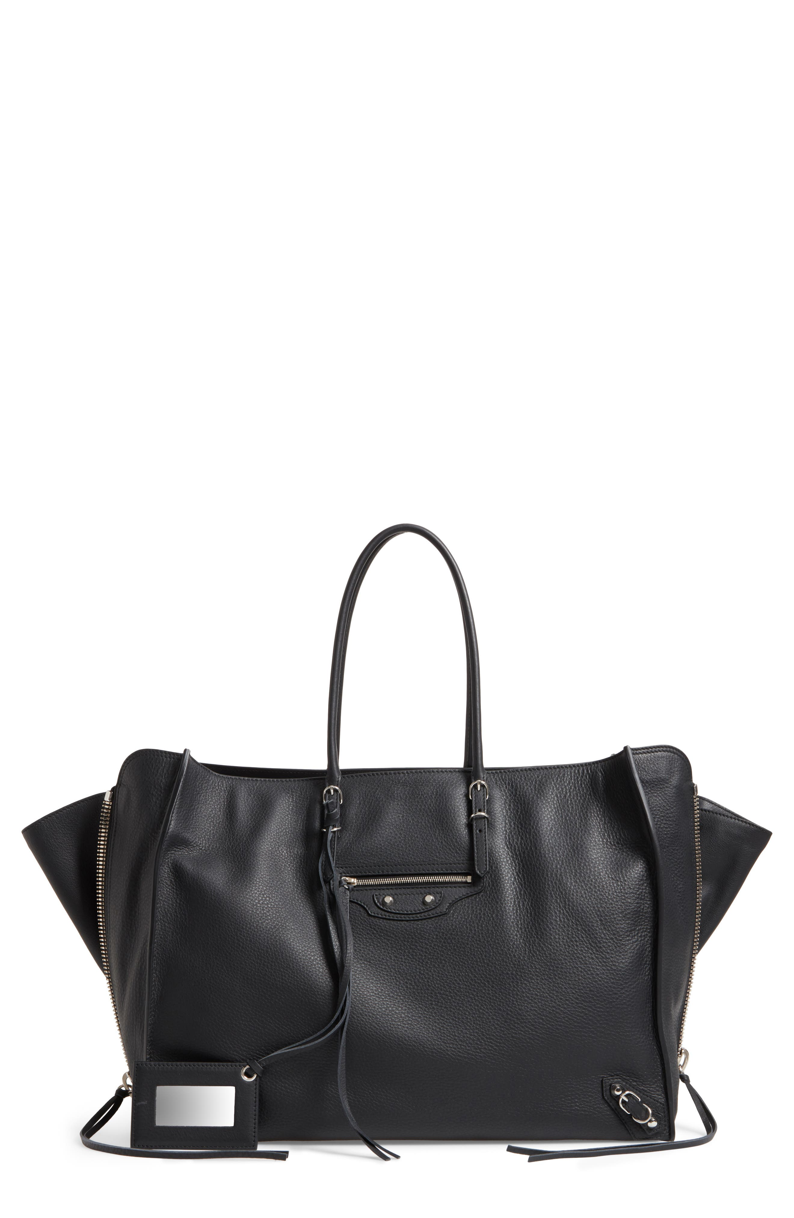 Papier A4 Zip Around Leather Tote, Main, color, 001
