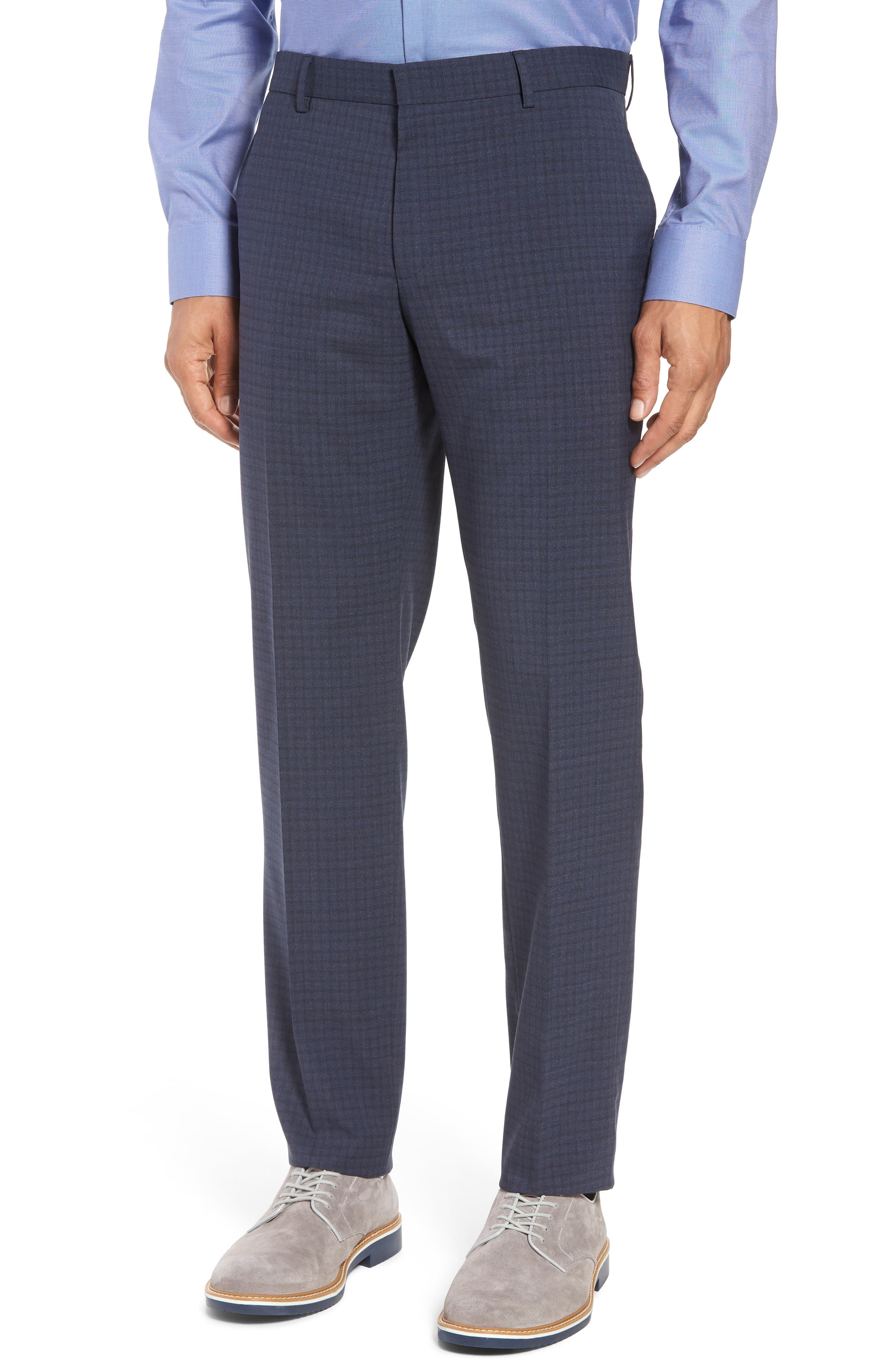 Huge/Genius Trim Fit Check Wool Suit,                             Alternate thumbnail 6, color,                             400