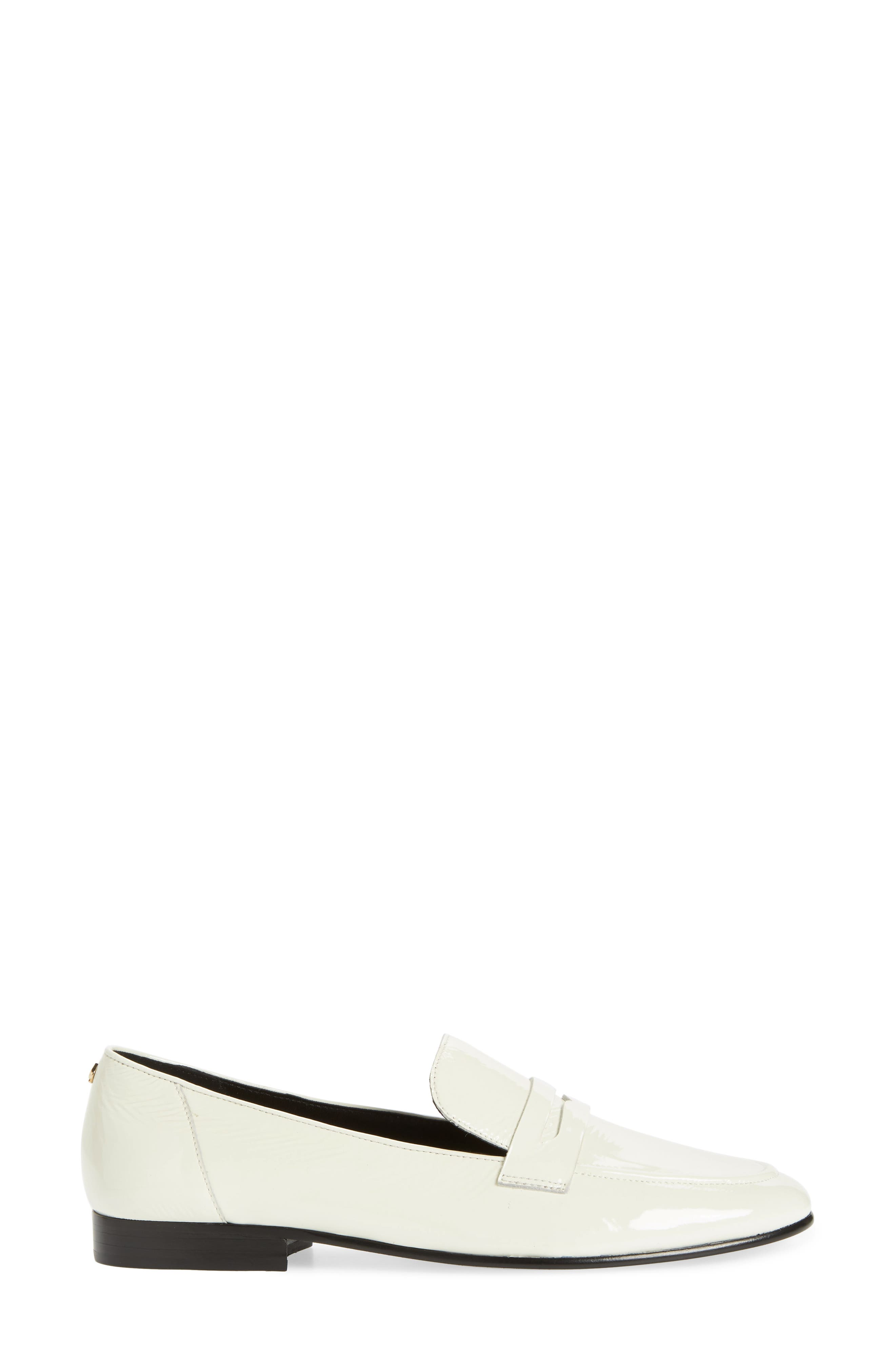 genevieve loafer,                             Alternate thumbnail 3, color,                             OFF WHITE CRINKLE PAT