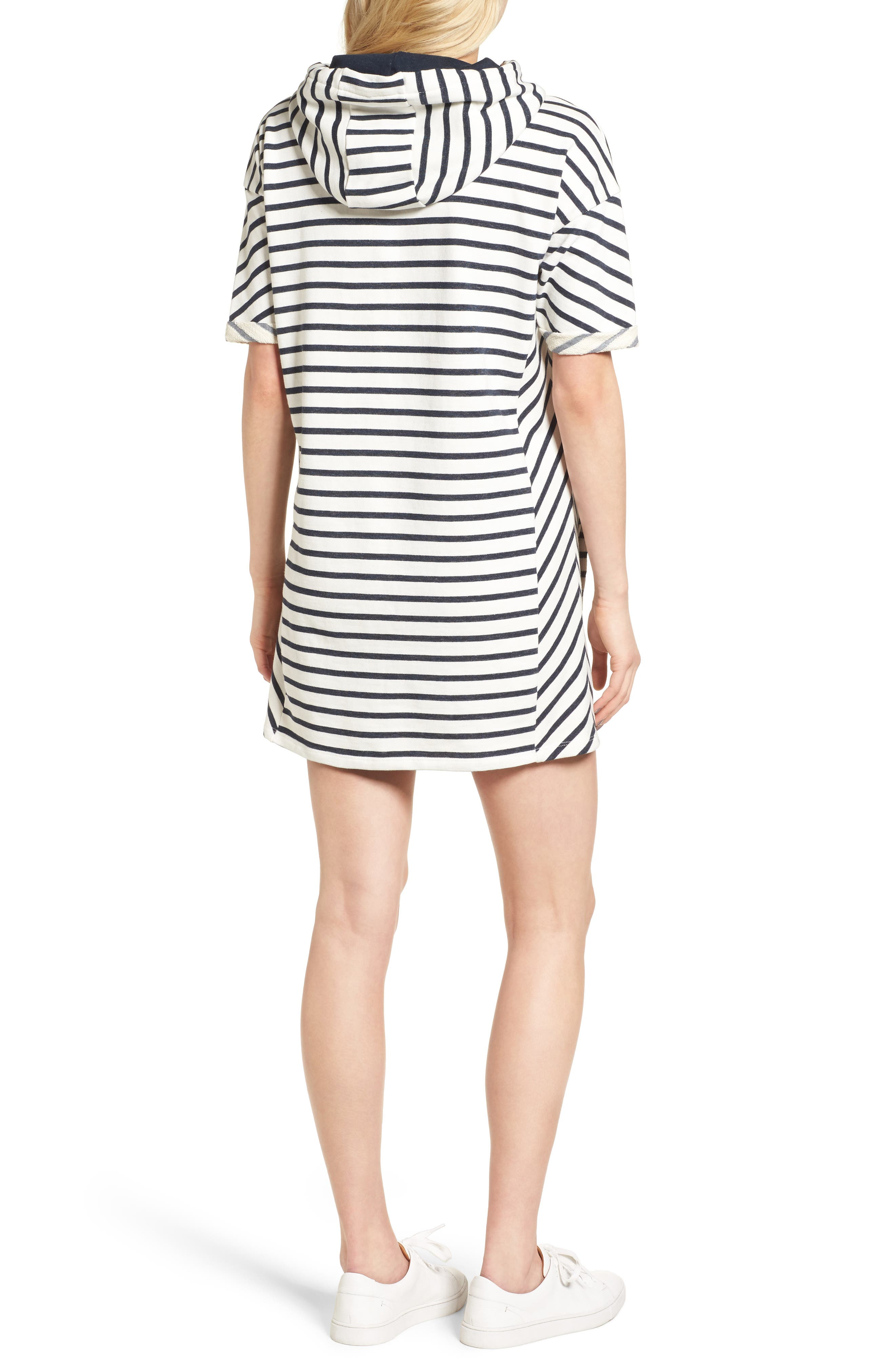 Dive Stripe Terry Hooded Dress,                             Alternate thumbnail 3, color,