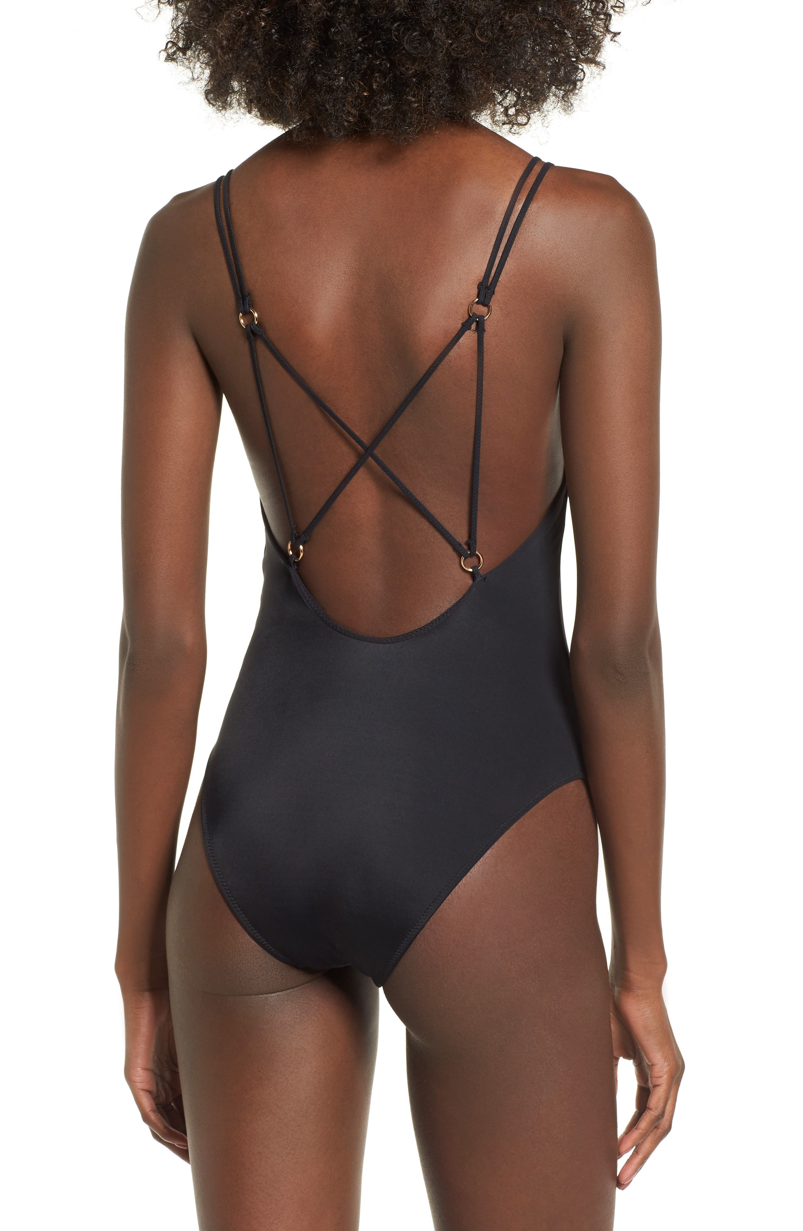 Strappy One-Piece Swimsuit,                             Alternate thumbnail 2, color,                             001