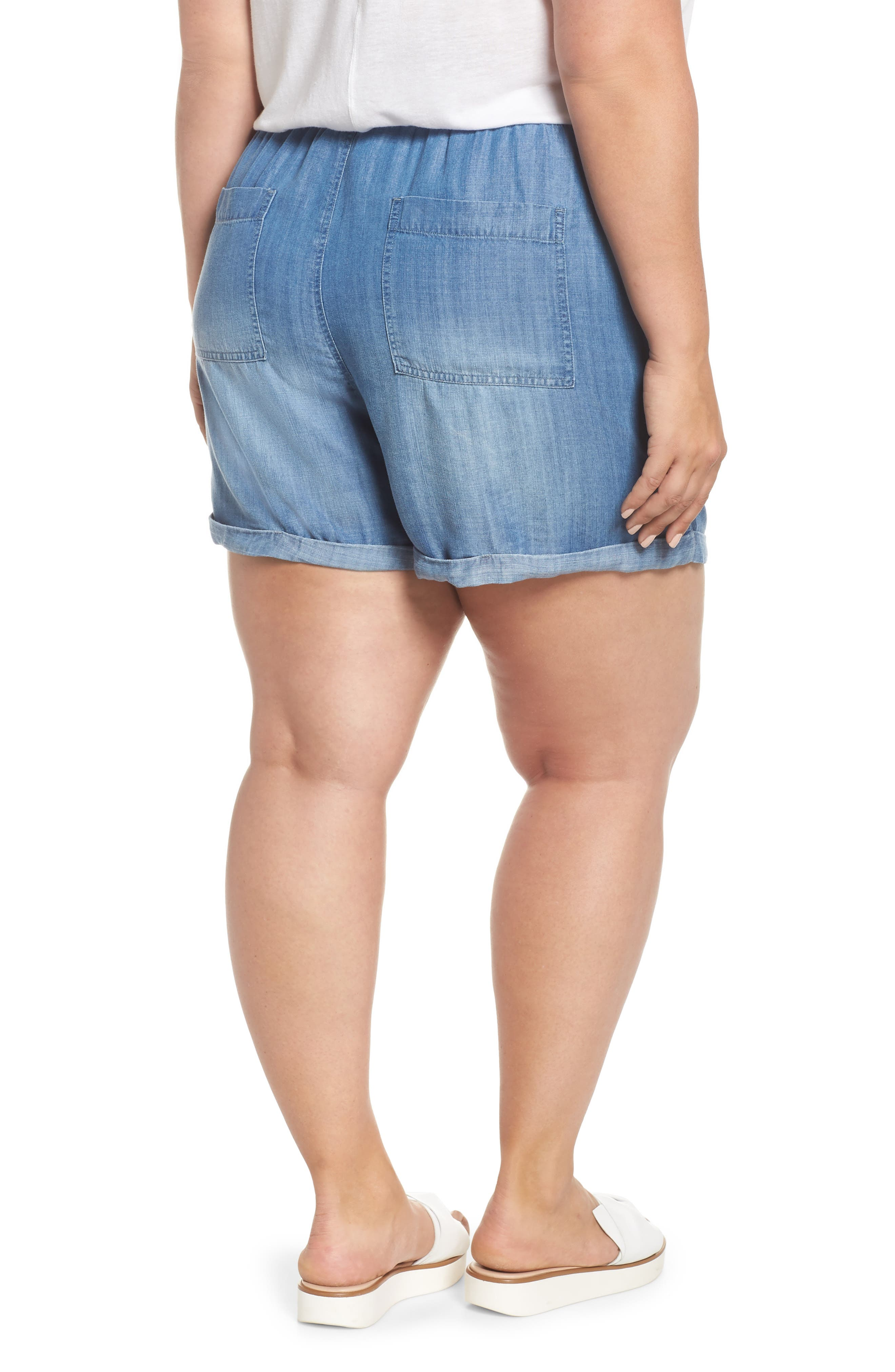 Drawstring Chambray Shorts,                             Alternate thumbnail 2, color,                             MEDIUM WASH