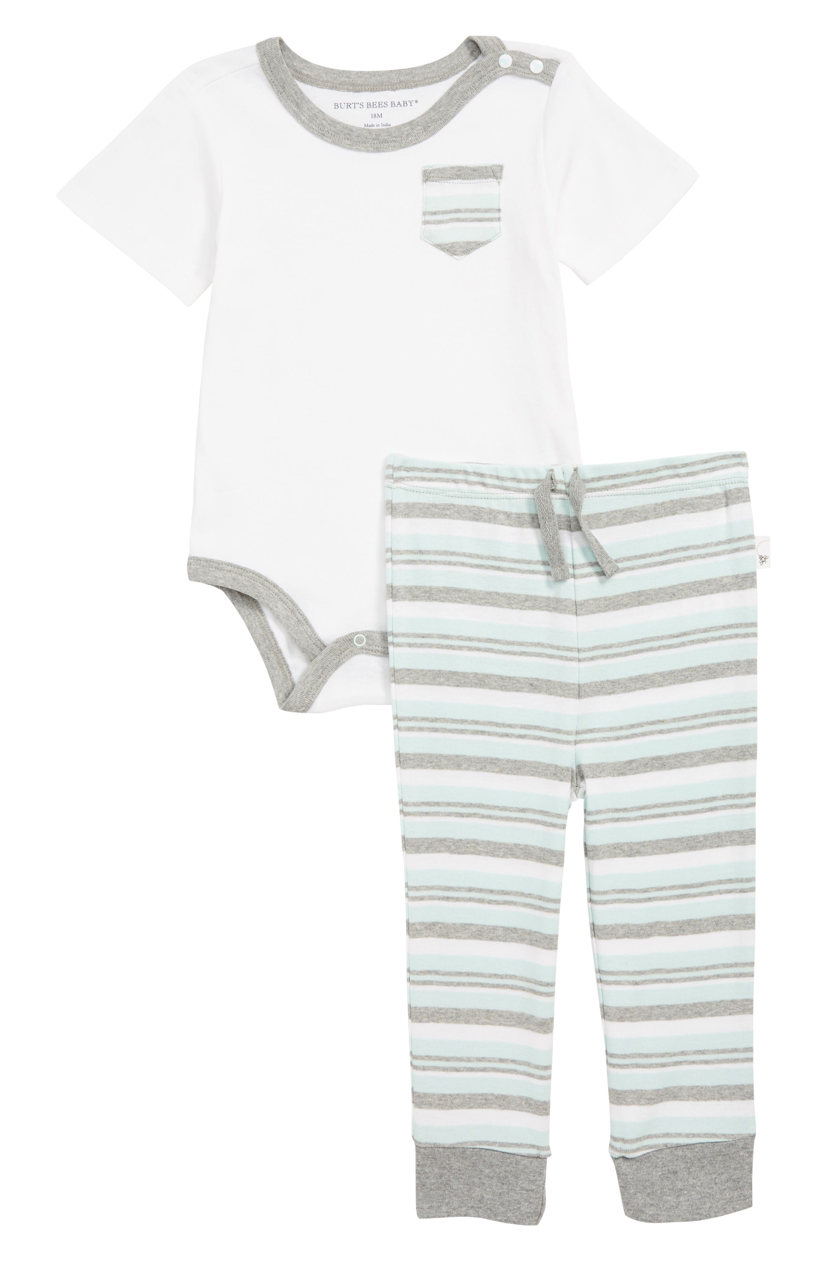 Infant Boys BurtS Bees Baby Organic Cotton Pocket Bodysuit  Pants Set