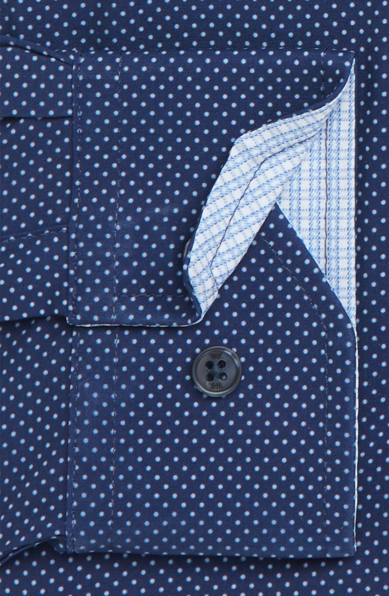Trim Fit Stretch Dot Dress Shirt,                             Alternate thumbnail 6, color,                             NAVY