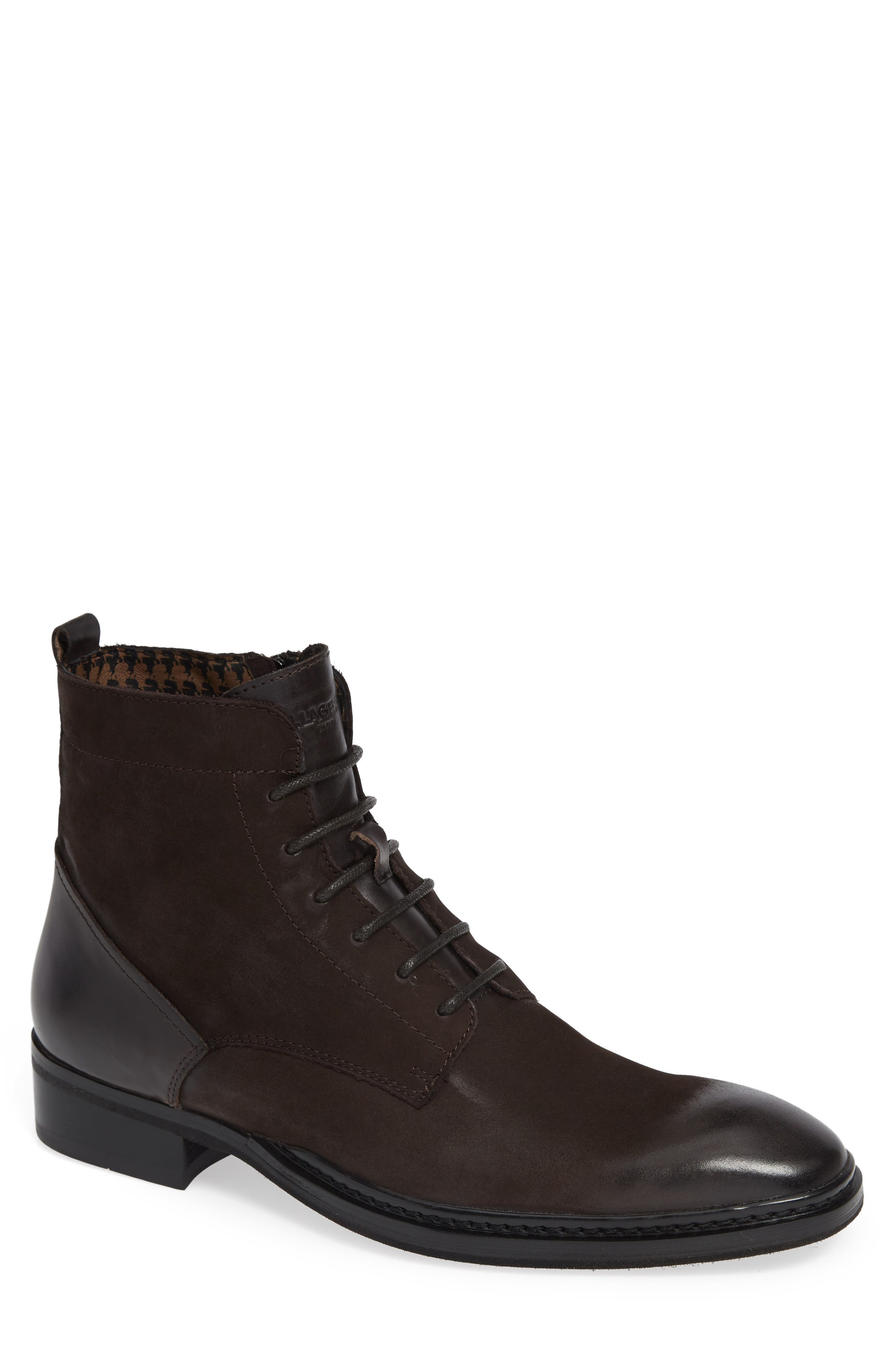 KARL LAGERFELD Men'S Leather Lace-Up Boots in Brown