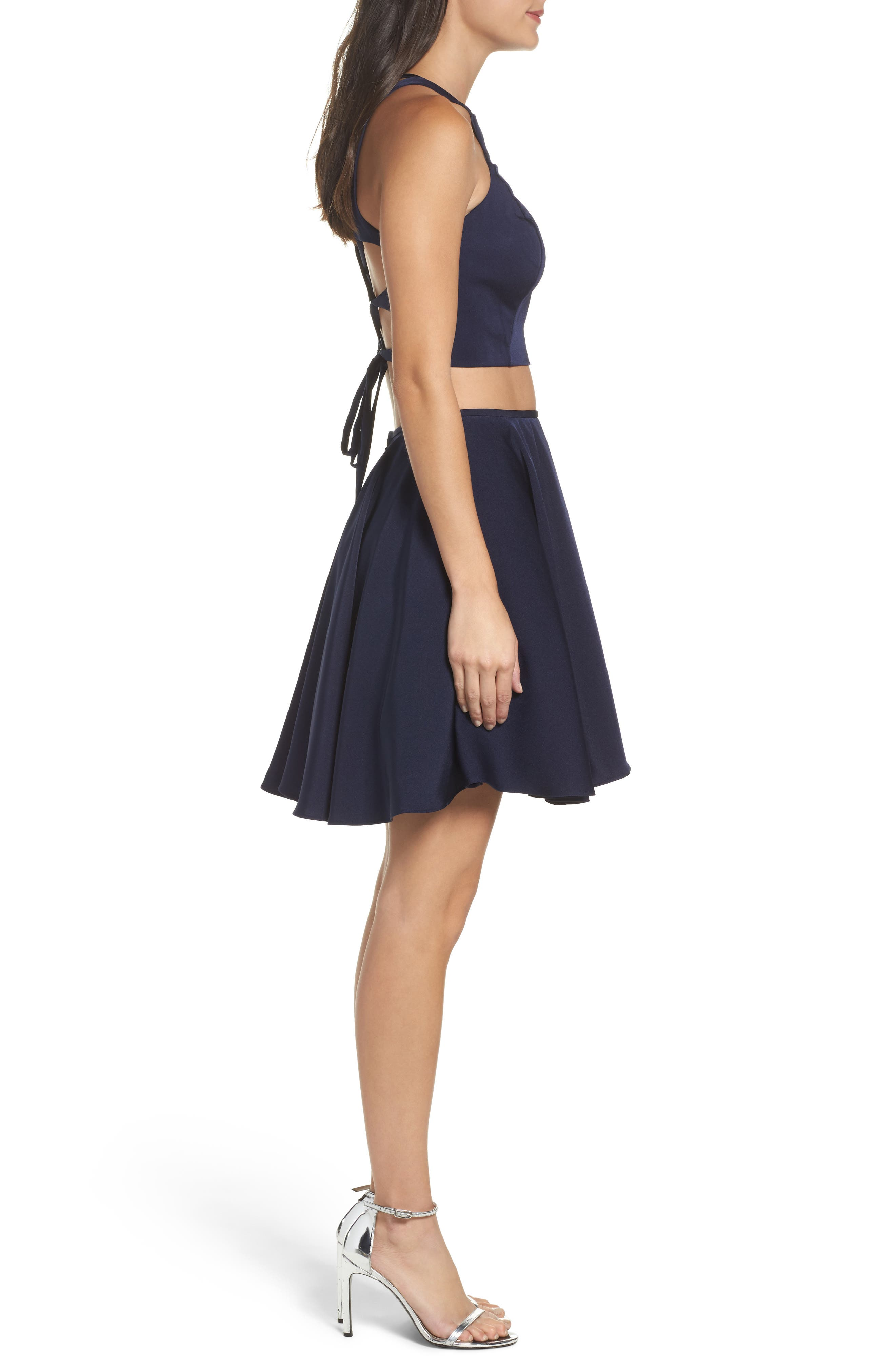 Strappy Back Two-Piece Skater Dress,                             Alternate thumbnail 3, color,                             410