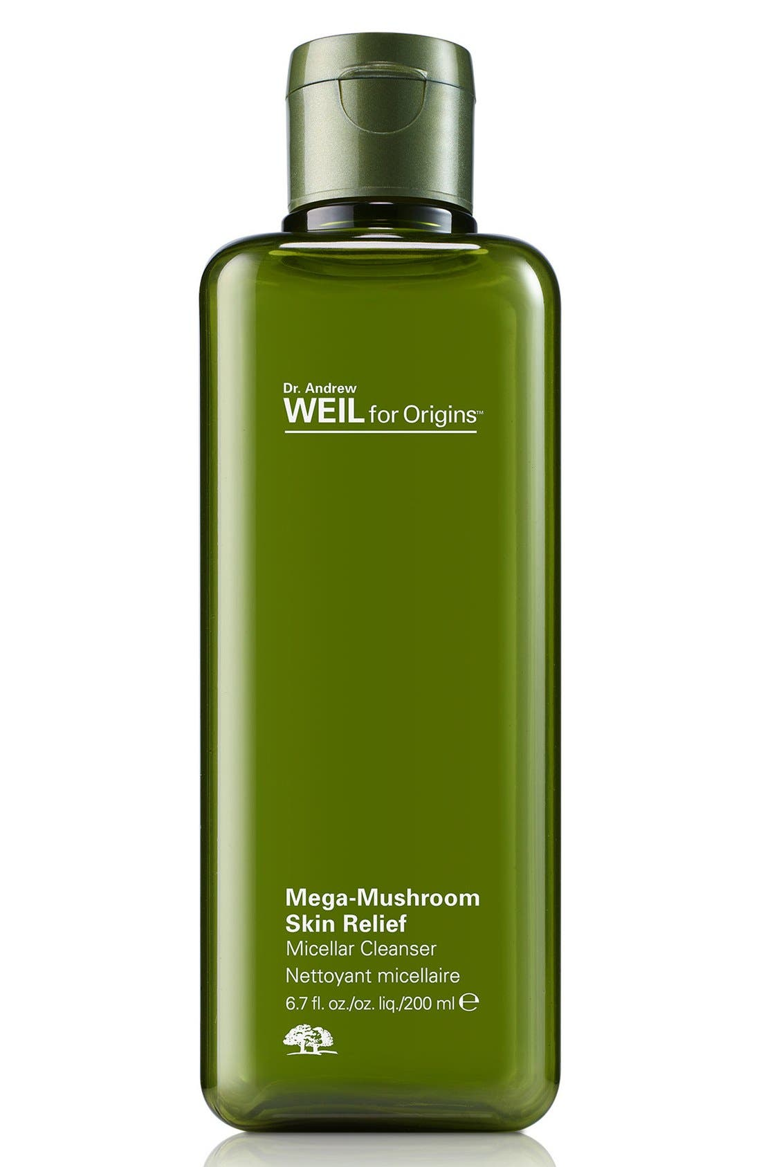 Dr. Andrew Weil for Origins<sup>™</sup> Mega-Mushroom Skin Relief Micellar Cleanser,                             Main thumbnail 1, color,                             NO COLOR
