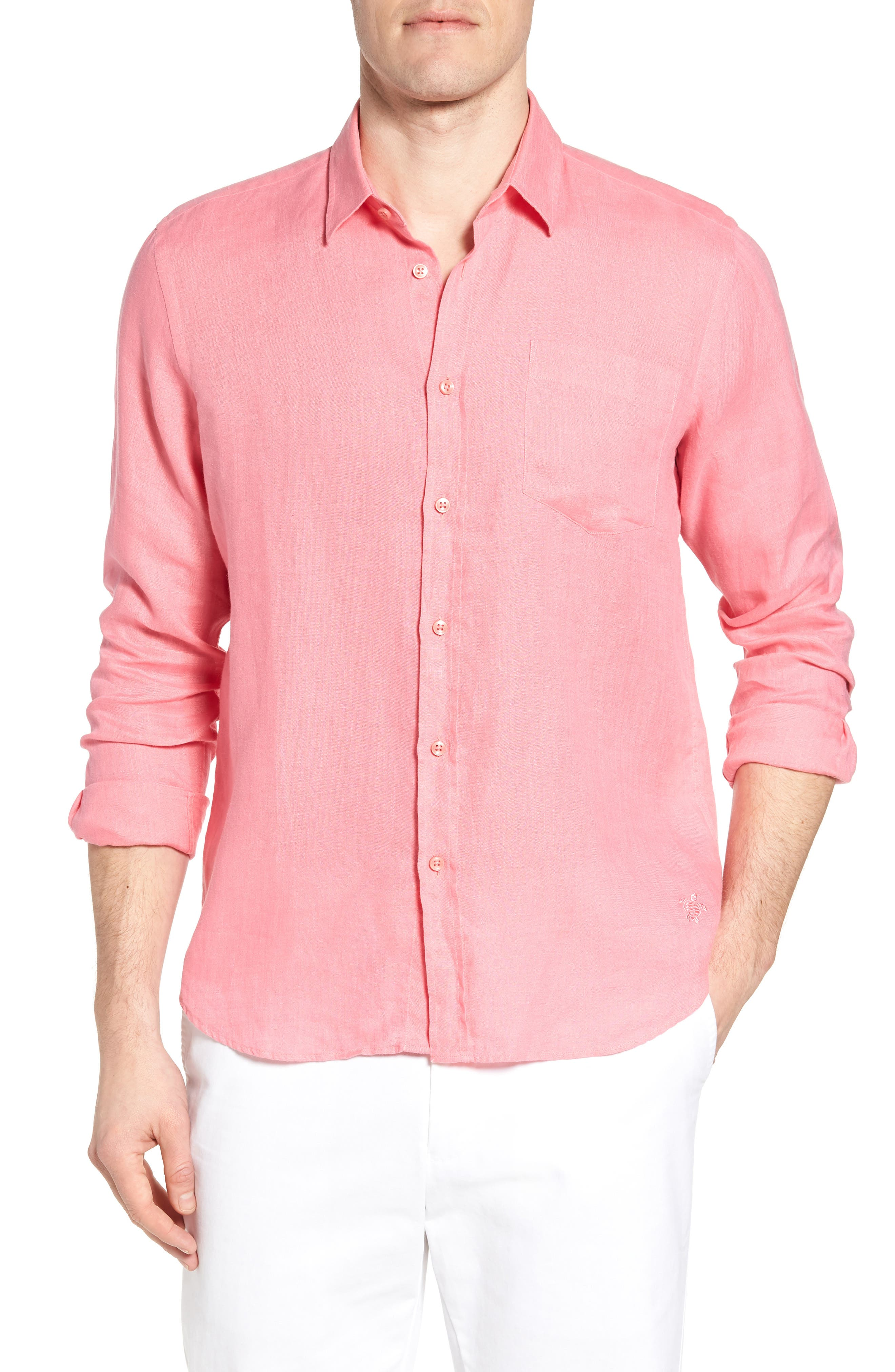 Caroubie Regular Fit Linen Sport Shirt,                         Main,                         color, LOTUS