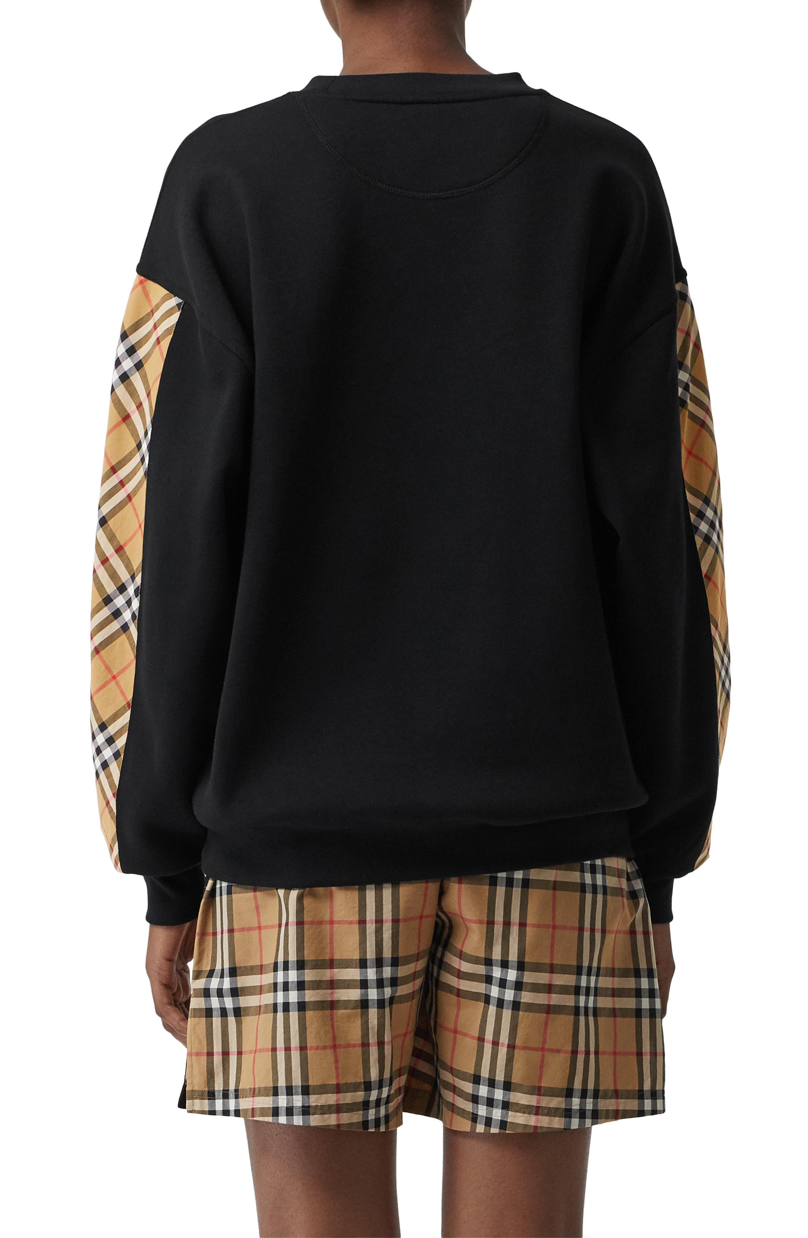 Bronx Check Sleeve Sweatshirt,                             Alternate thumbnail 2, color,                             BLACK
