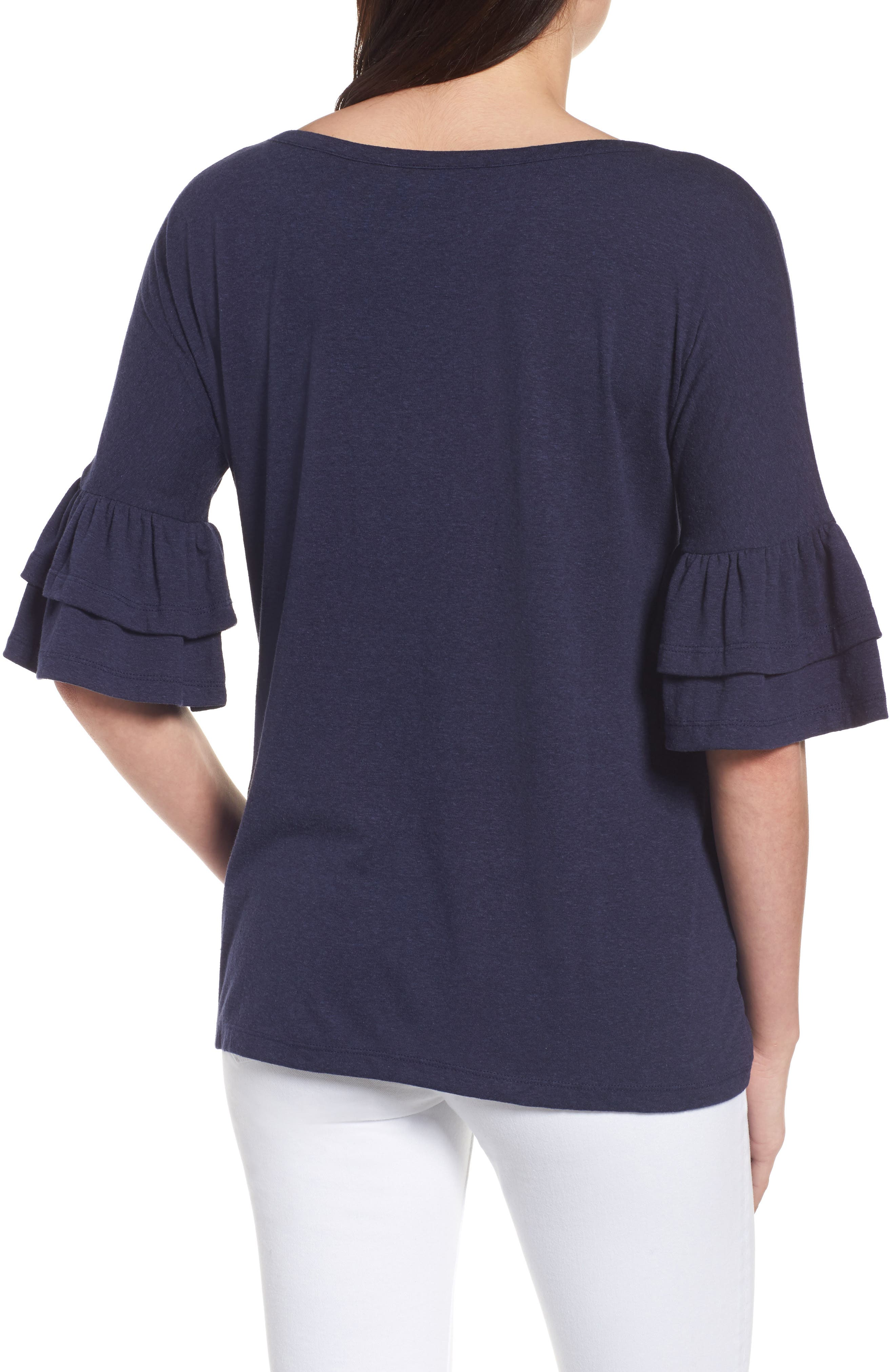 Tiered Bell Sleeve Tee,                             Alternate thumbnail 14, color,
