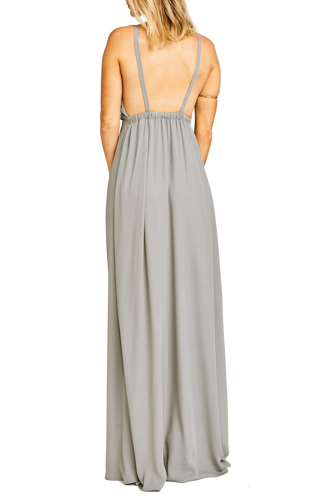Amanda Open Back Blouson Gown,                             Alternate thumbnail 21, color,