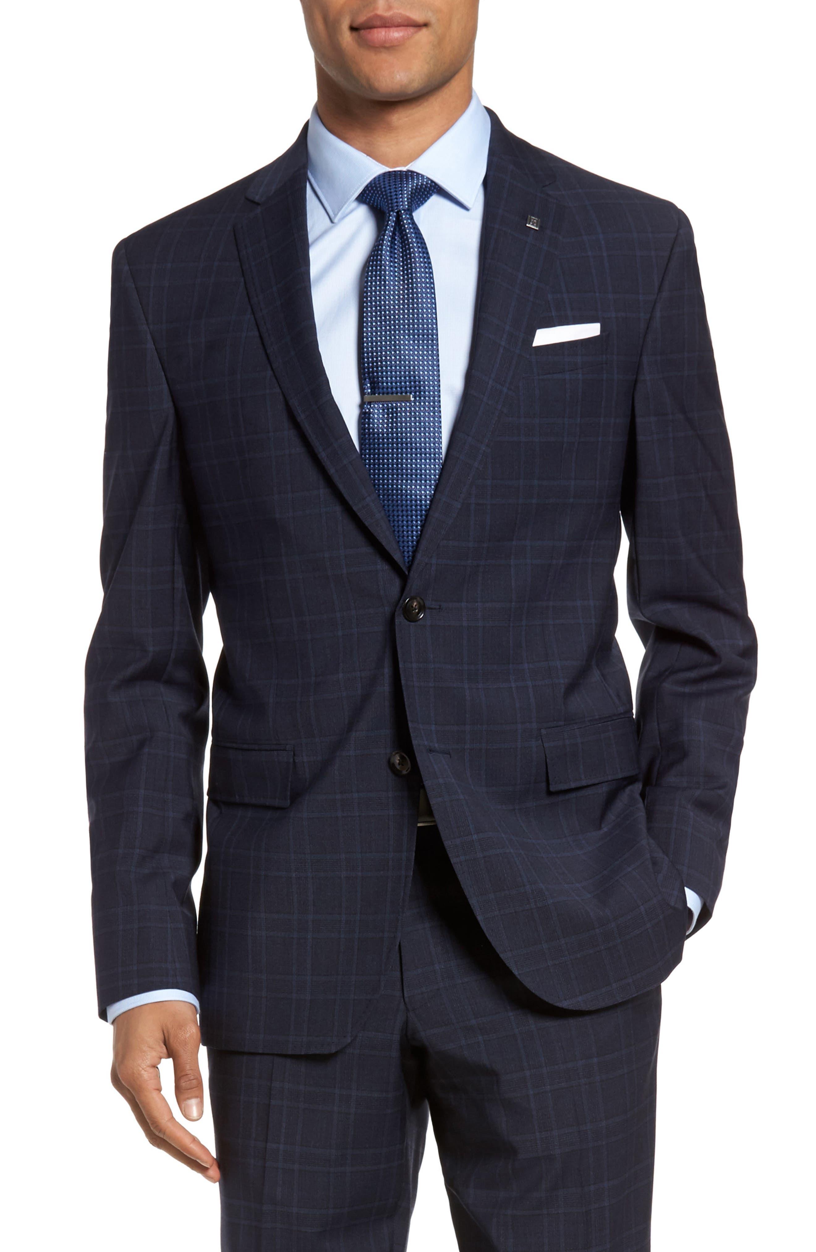 Jay Trim Fit Plaid Wool Suit,                             Alternate thumbnail 5, color,                             400