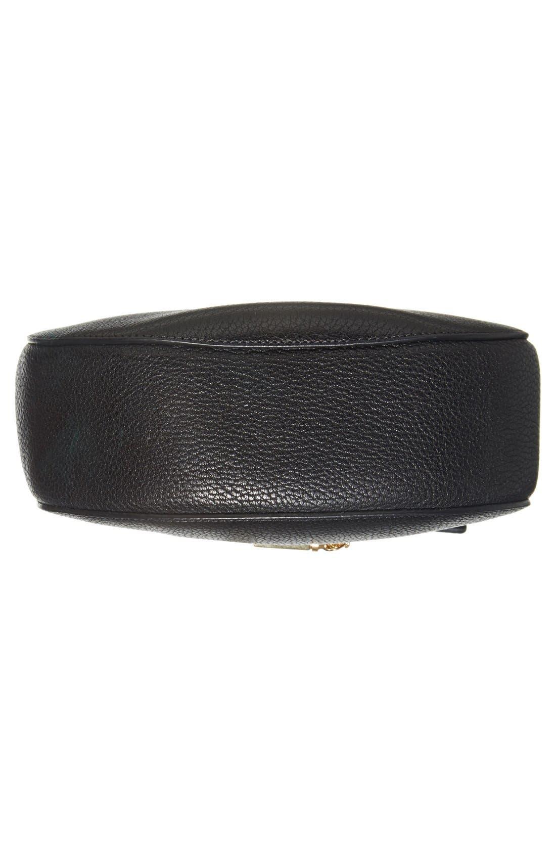Drew Leather Shoulder Bag,                             Alternate thumbnail 5, color,                             BLACK GOLD HRDWRE