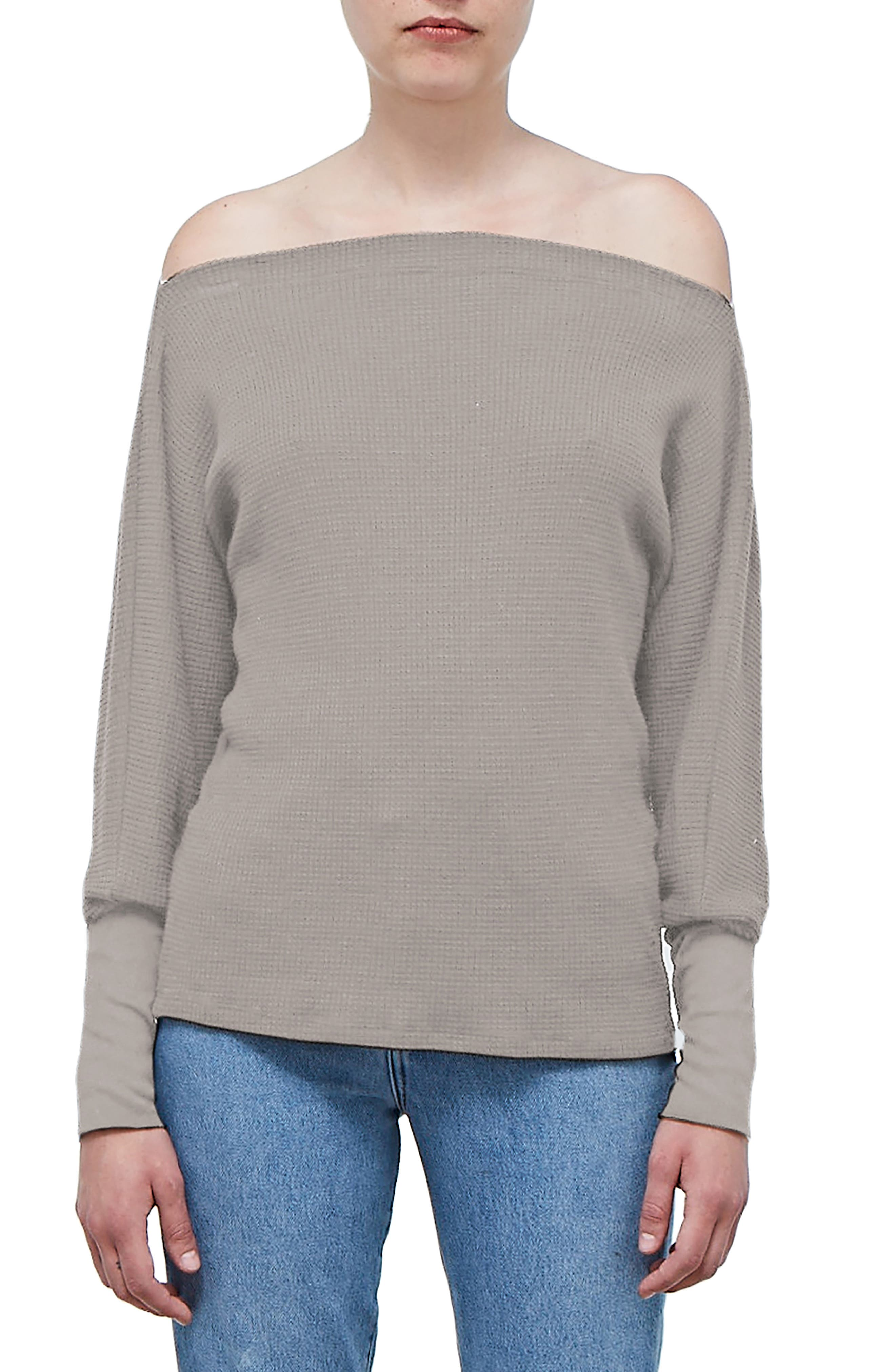 Off the Shoulder Thermal Top,                             Main thumbnail 1, color,                             TAUPE