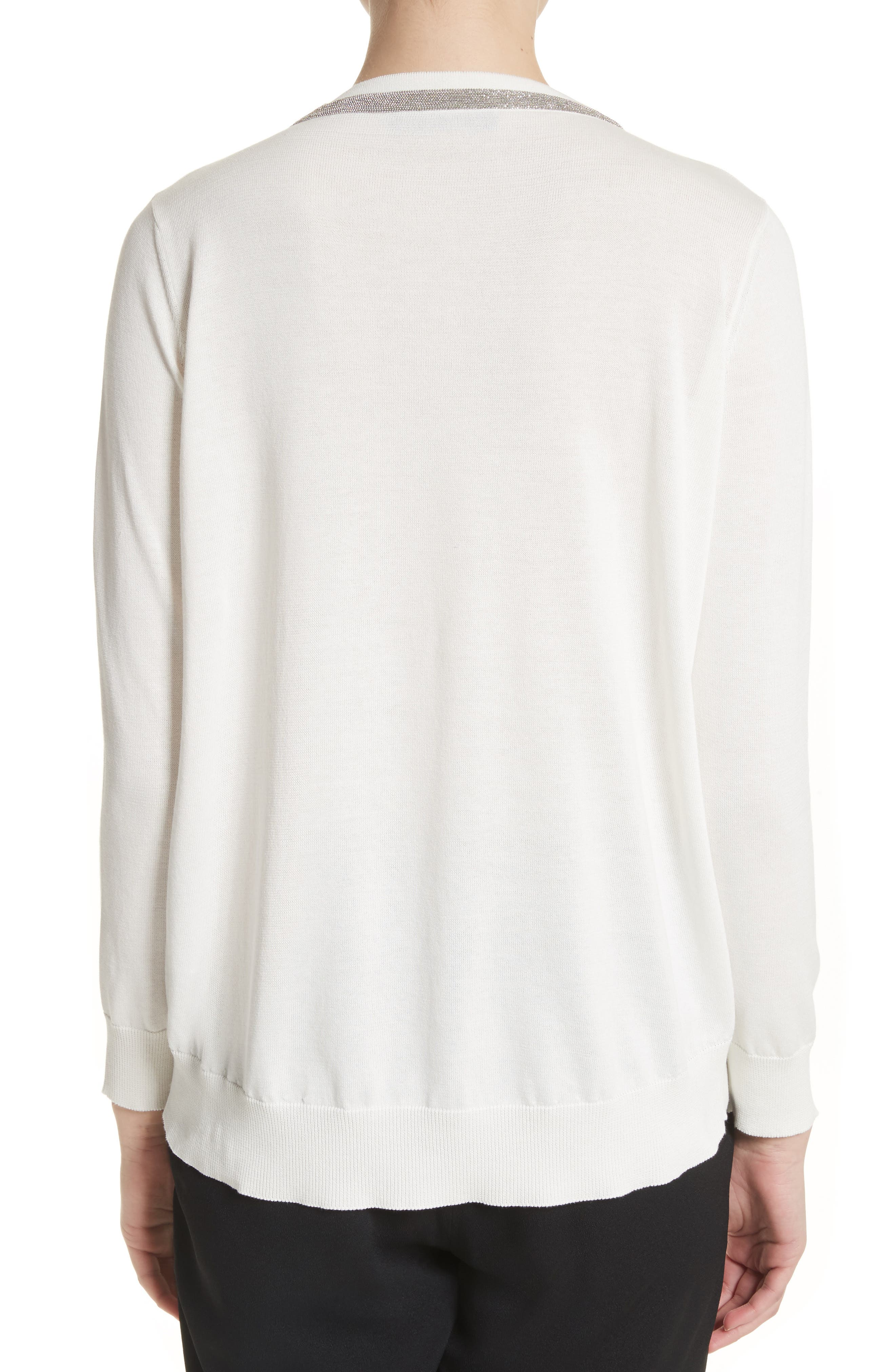 Embellished Cutout Cotton Sweater,                             Alternate thumbnail 2, color,