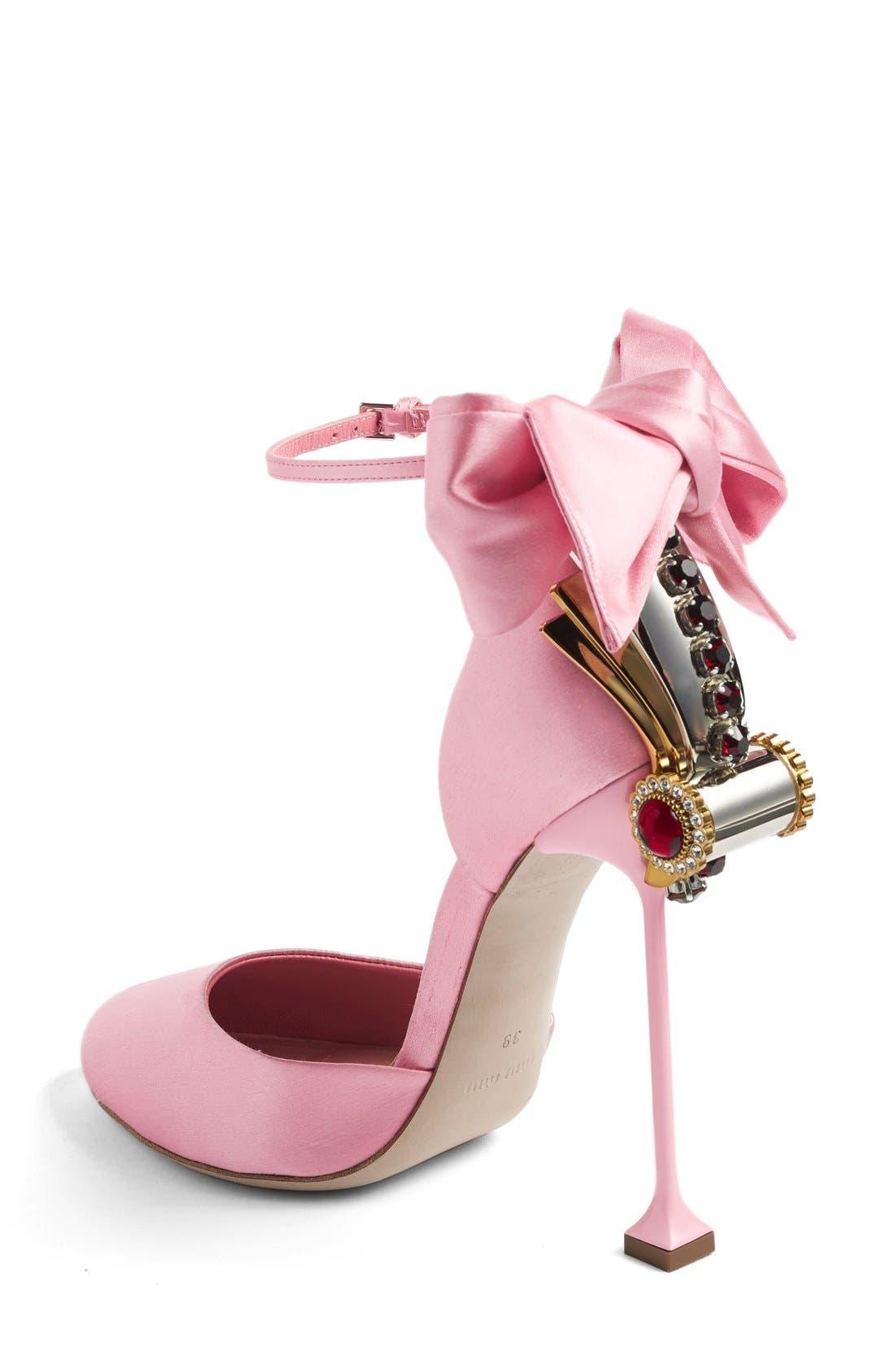 MIU MIU,                             Crystal Bow Tie Ankle Strap Pump,                             Alternate thumbnail 3, color,                             650