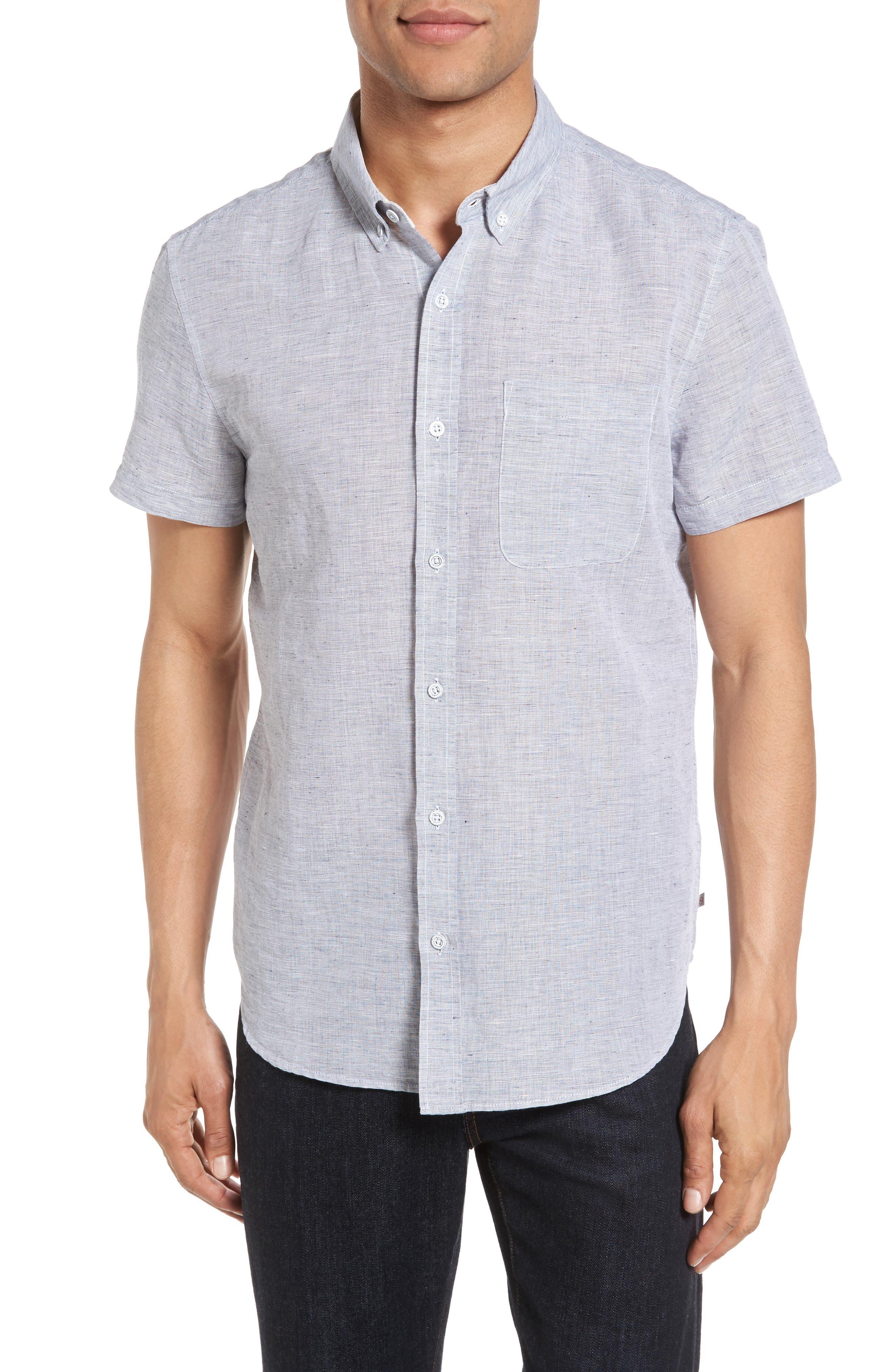 Nash Slim Fit Linen & Cotton Sport Shirt,                             Main thumbnail 1, color,                             020