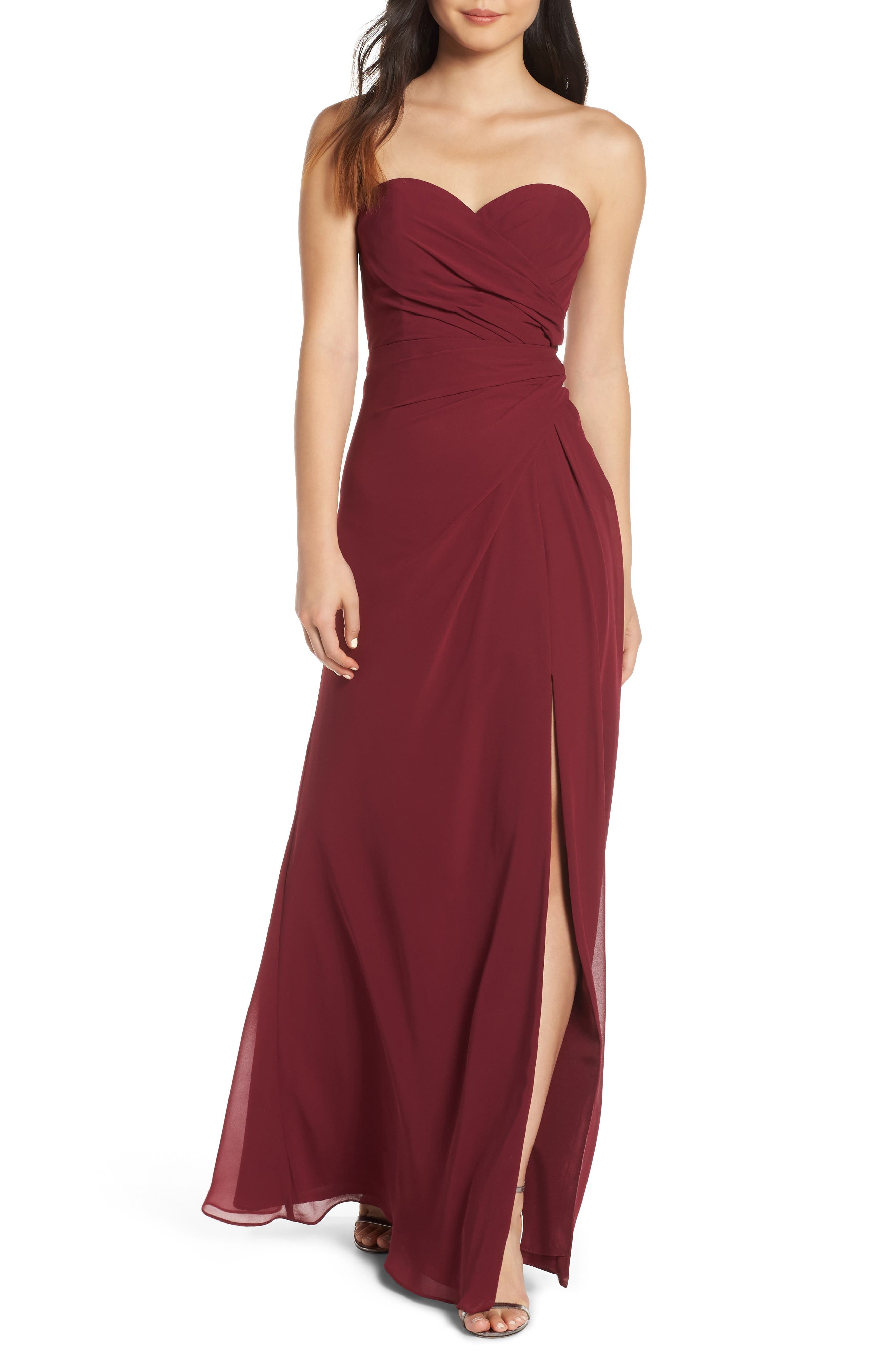 Hayley Paige Occasions Strapless Chiffon Evening Dress, Burgundy