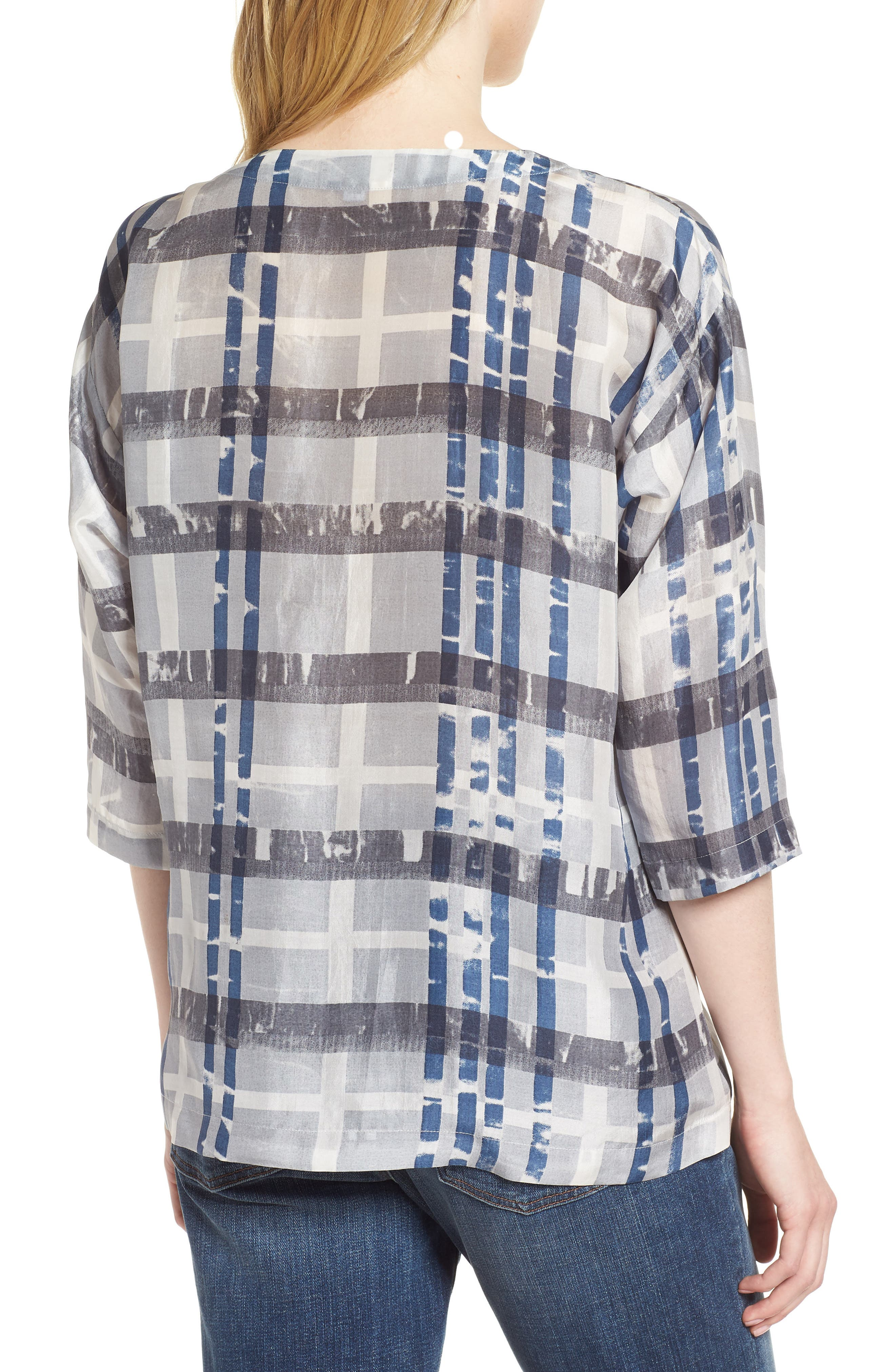 Plaid Boxy Silk Top,                             Alternate thumbnail 2, color,                             SILVER