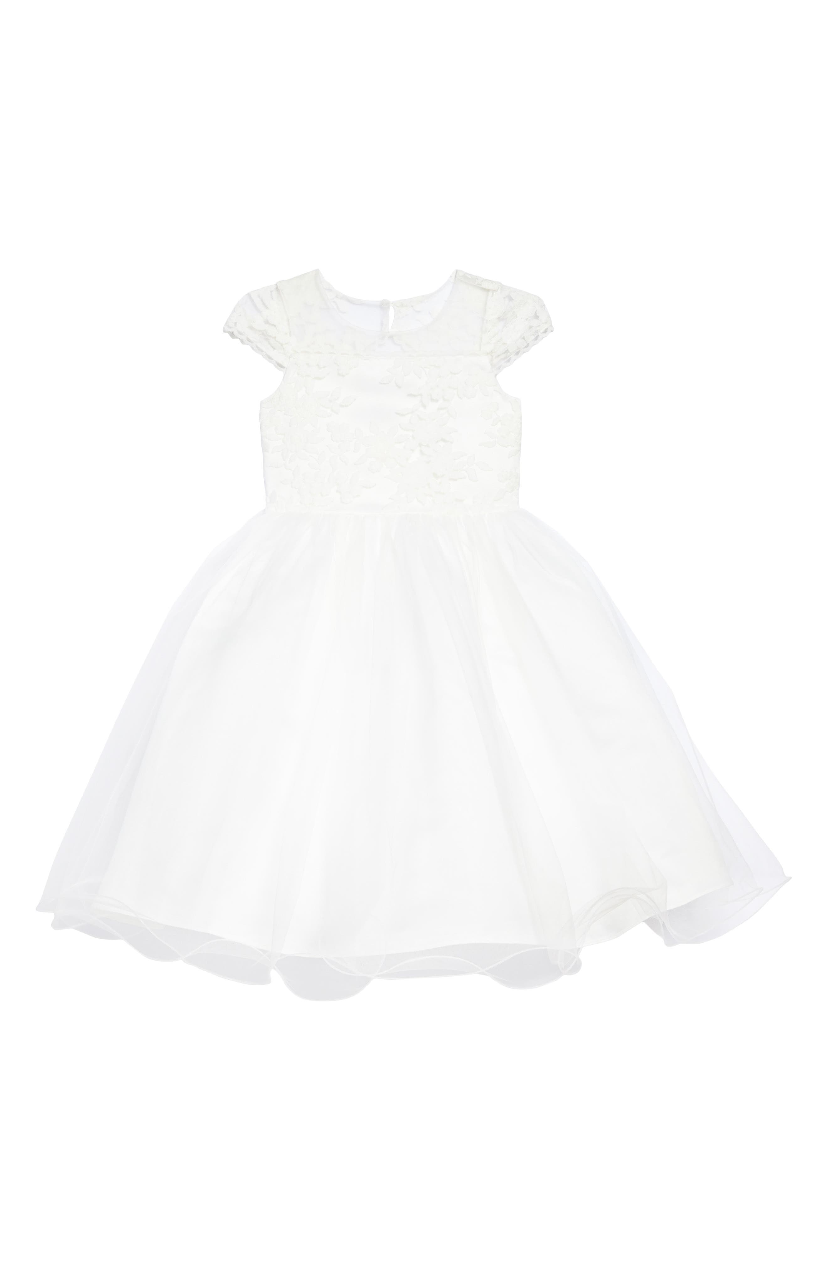 The Tina Floral Lace Tulle Dress,                             Main thumbnail 1, color,                             IVORY