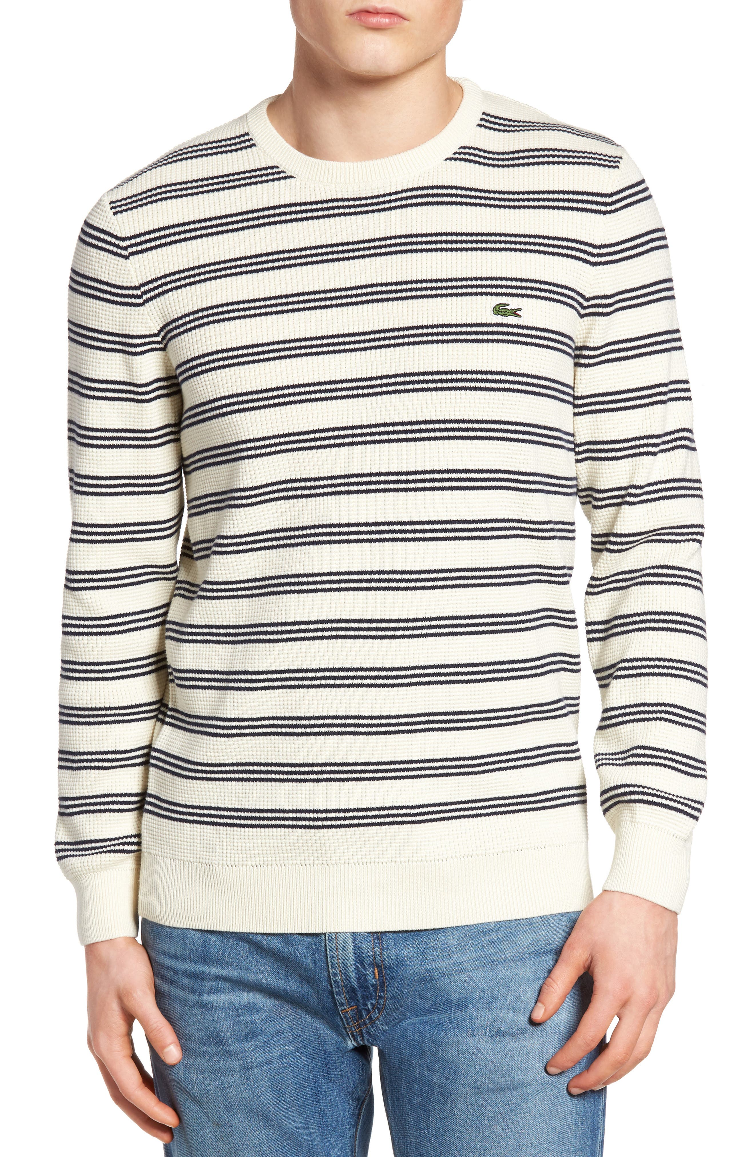 Waffle Stitch Stripe Sweater,                             Main thumbnail 1, color,                             028